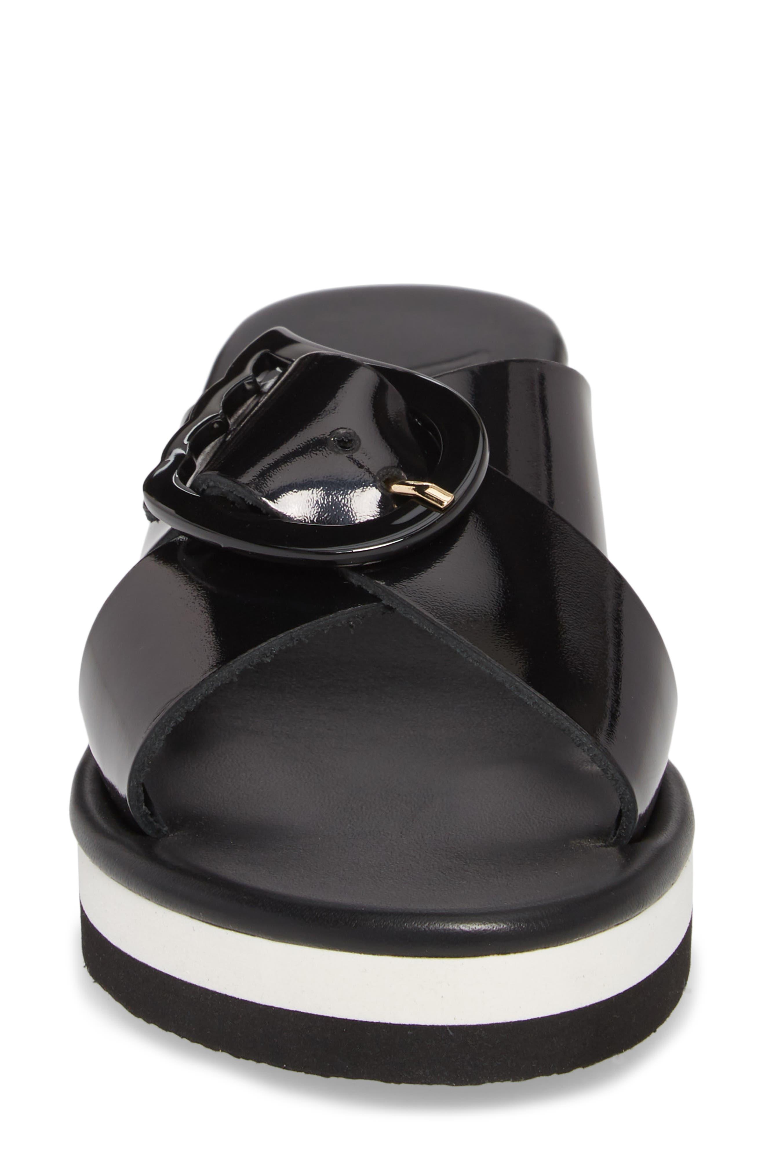 Thais Wedge Slide Sandal,                             Alternate thumbnail 4, color,                             Black