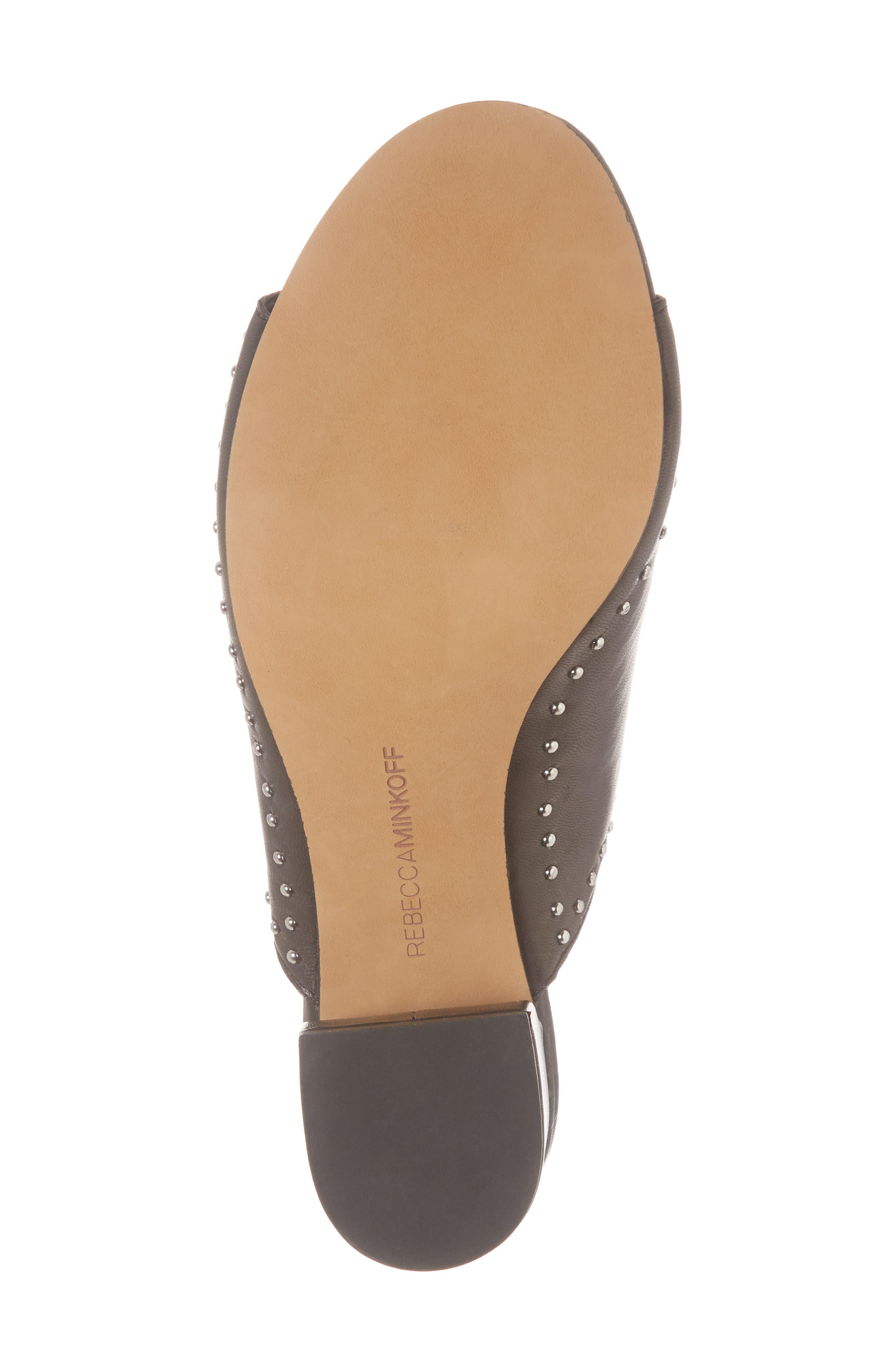 Lainy Studded Mule,                             Alternate thumbnail 6, color,                             Black Leather