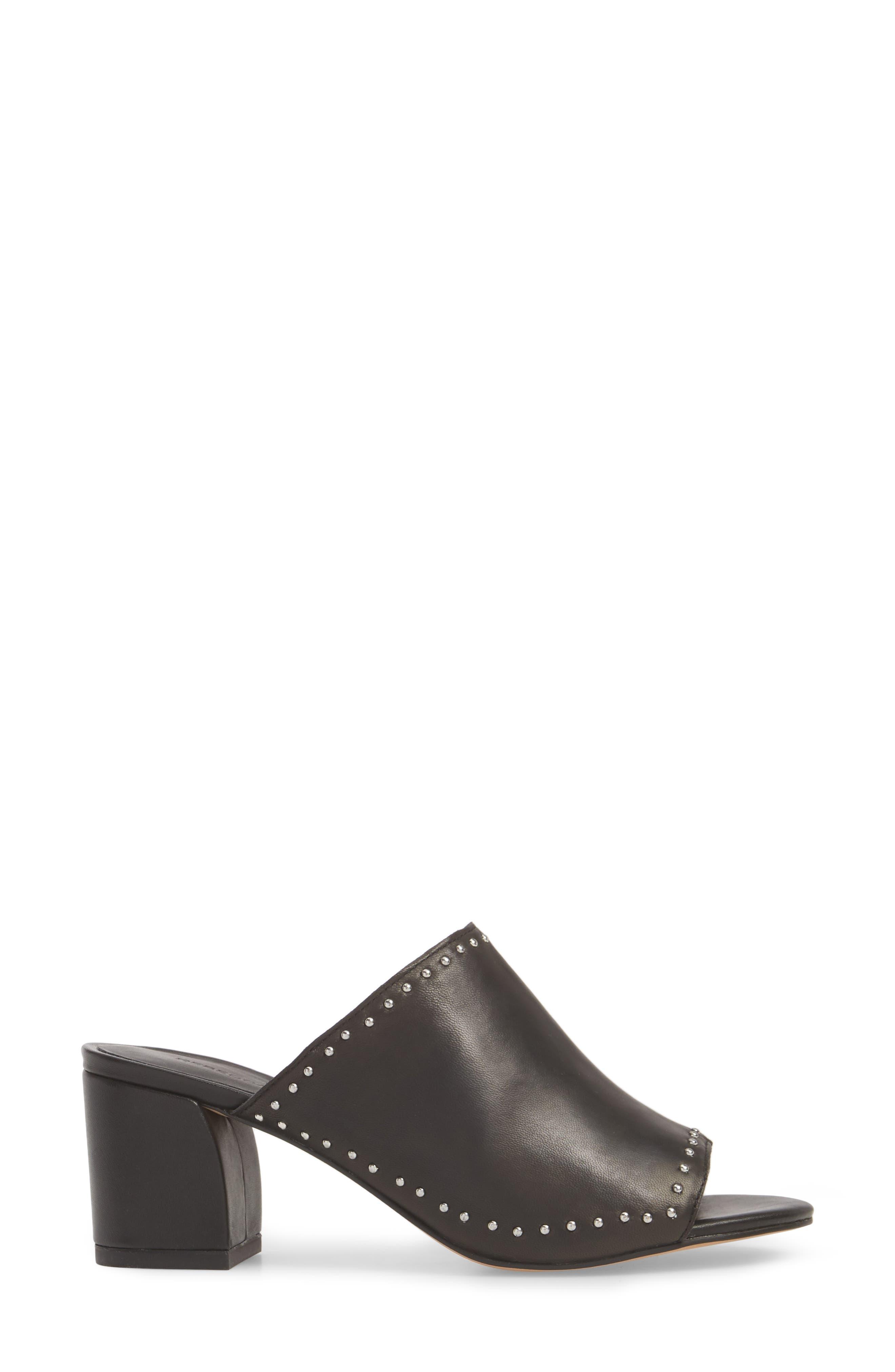 Lainy Studded Mule,                             Alternate thumbnail 3, color,                             Black Leather