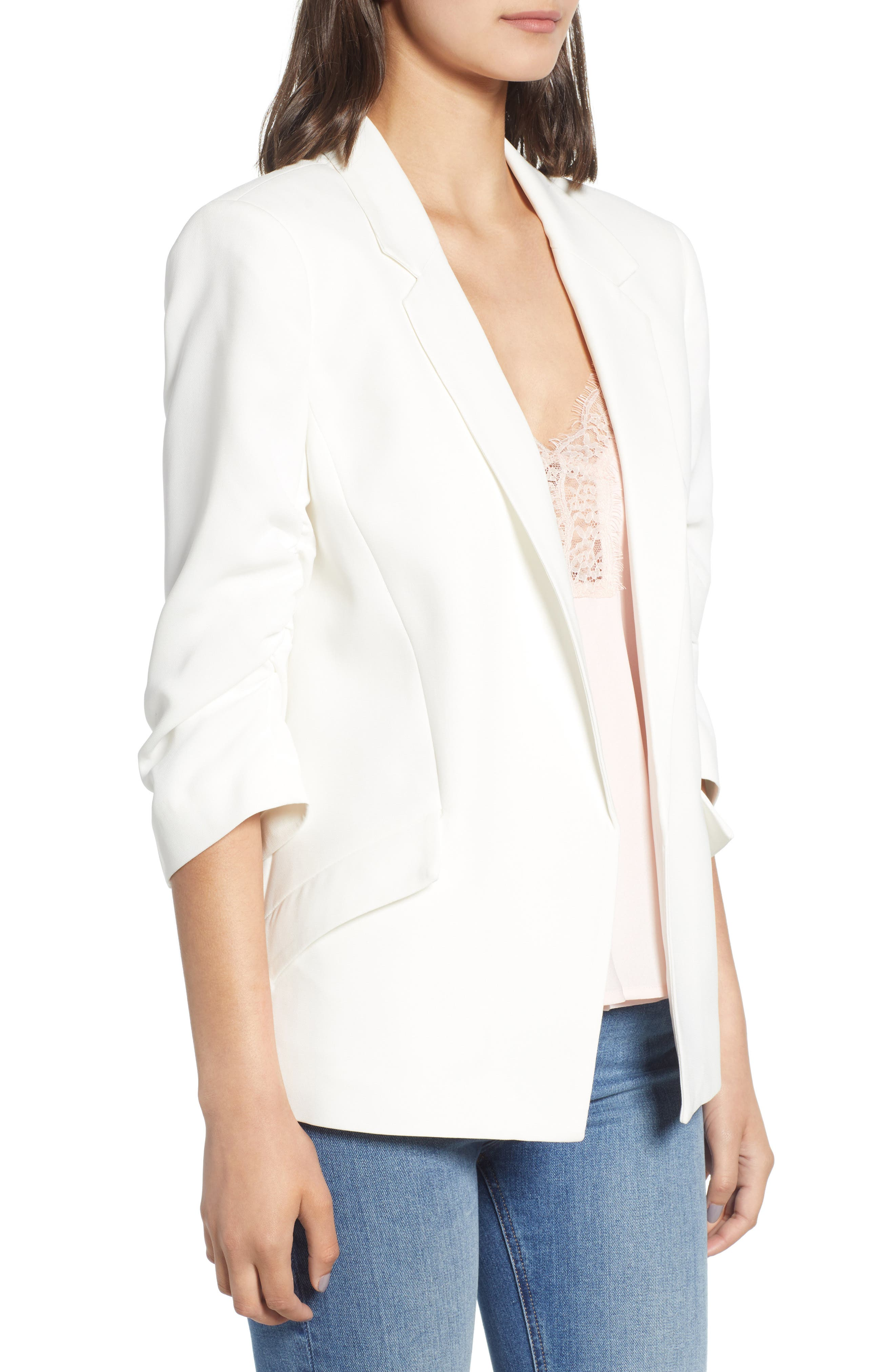 Ruched Sleeve Blazer,                             Alternate thumbnail 3, color,                             White