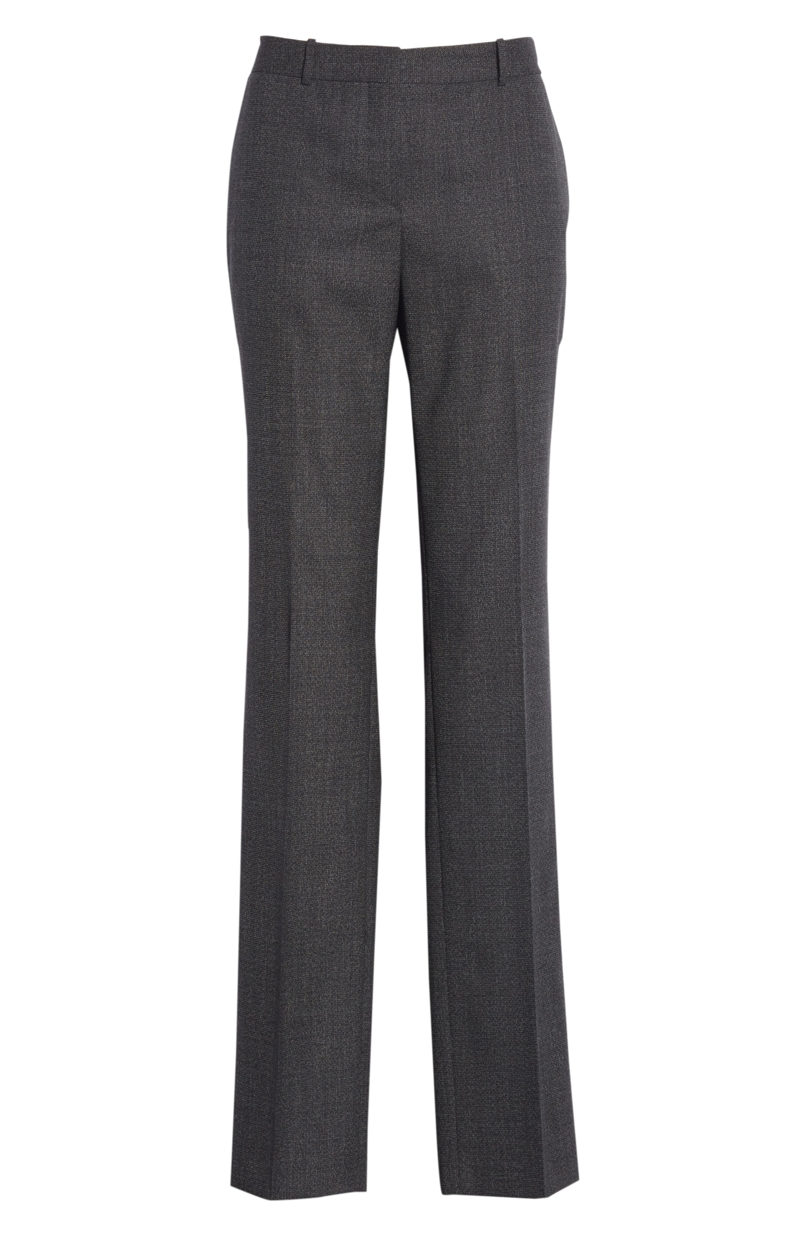 Tamea Tropical Stretch Wool Trousers,                             Alternate thumbnail 6, color,                             Black Fantasy