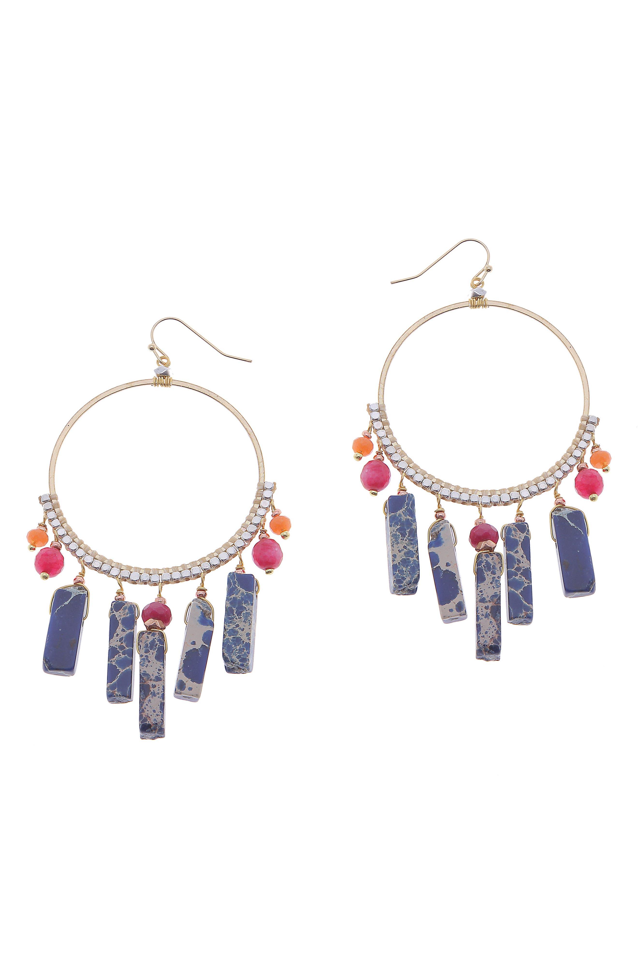 Raw Crystal & Cultured Pearl Hoop Earrings,                             Main thumbnail 1, color,                             Blue/ Multi