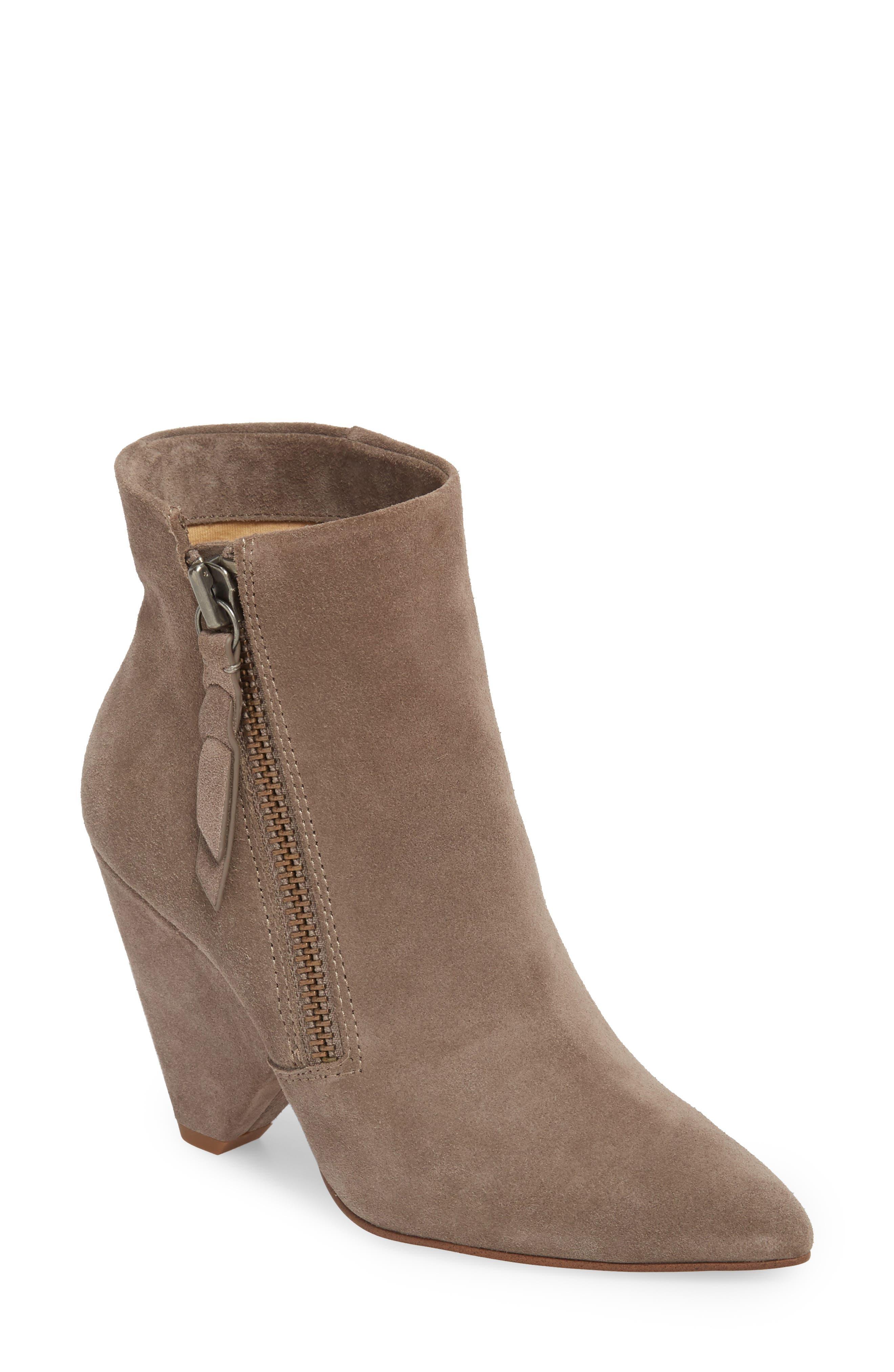 Neva Cone Heel Bootie,                         Main,                         color, Light Charcoal Suede