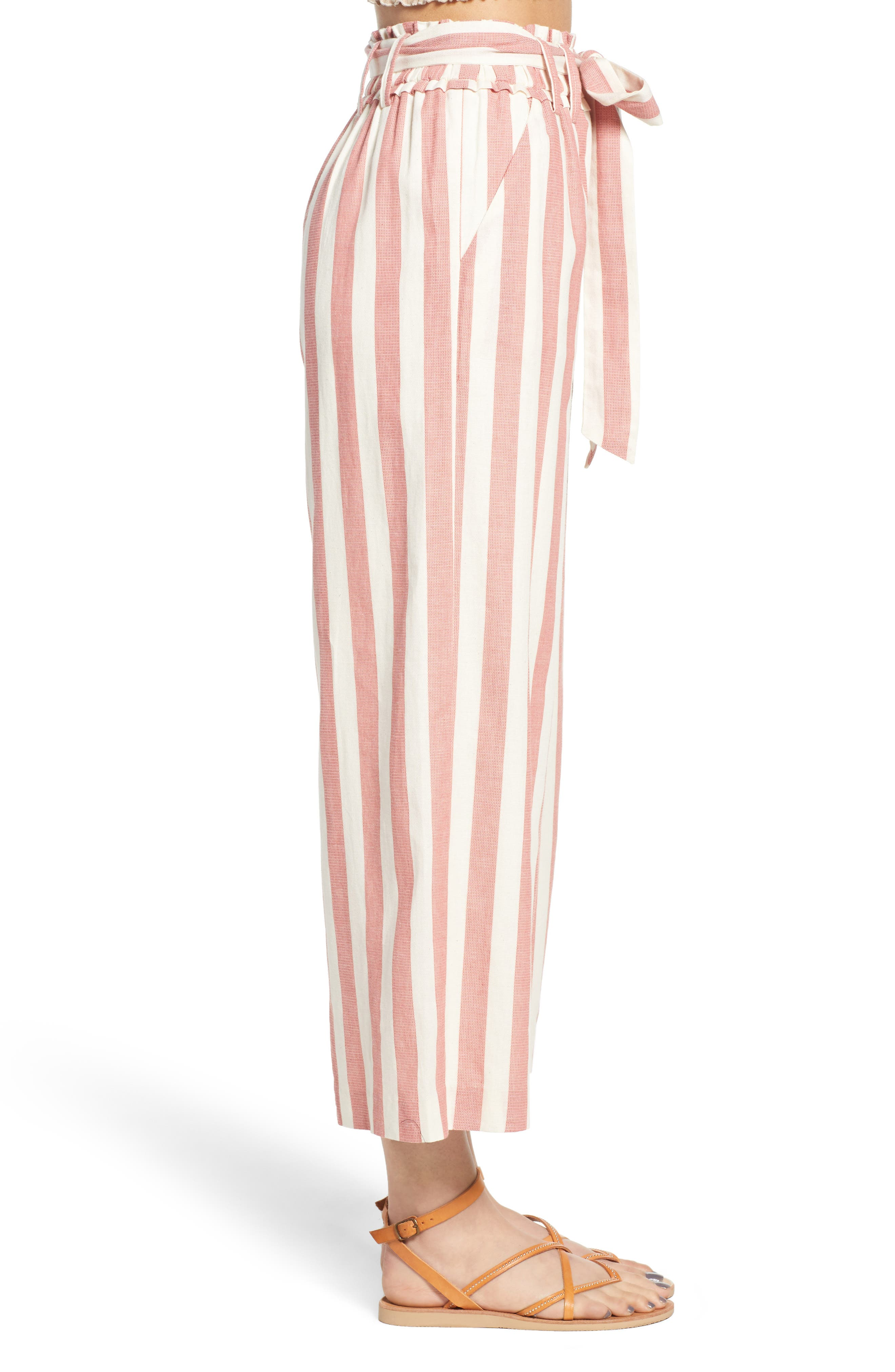 Stripe Paperbag Waist Pants,                             Alternate thumbnail 3, color,                             Red Stripe