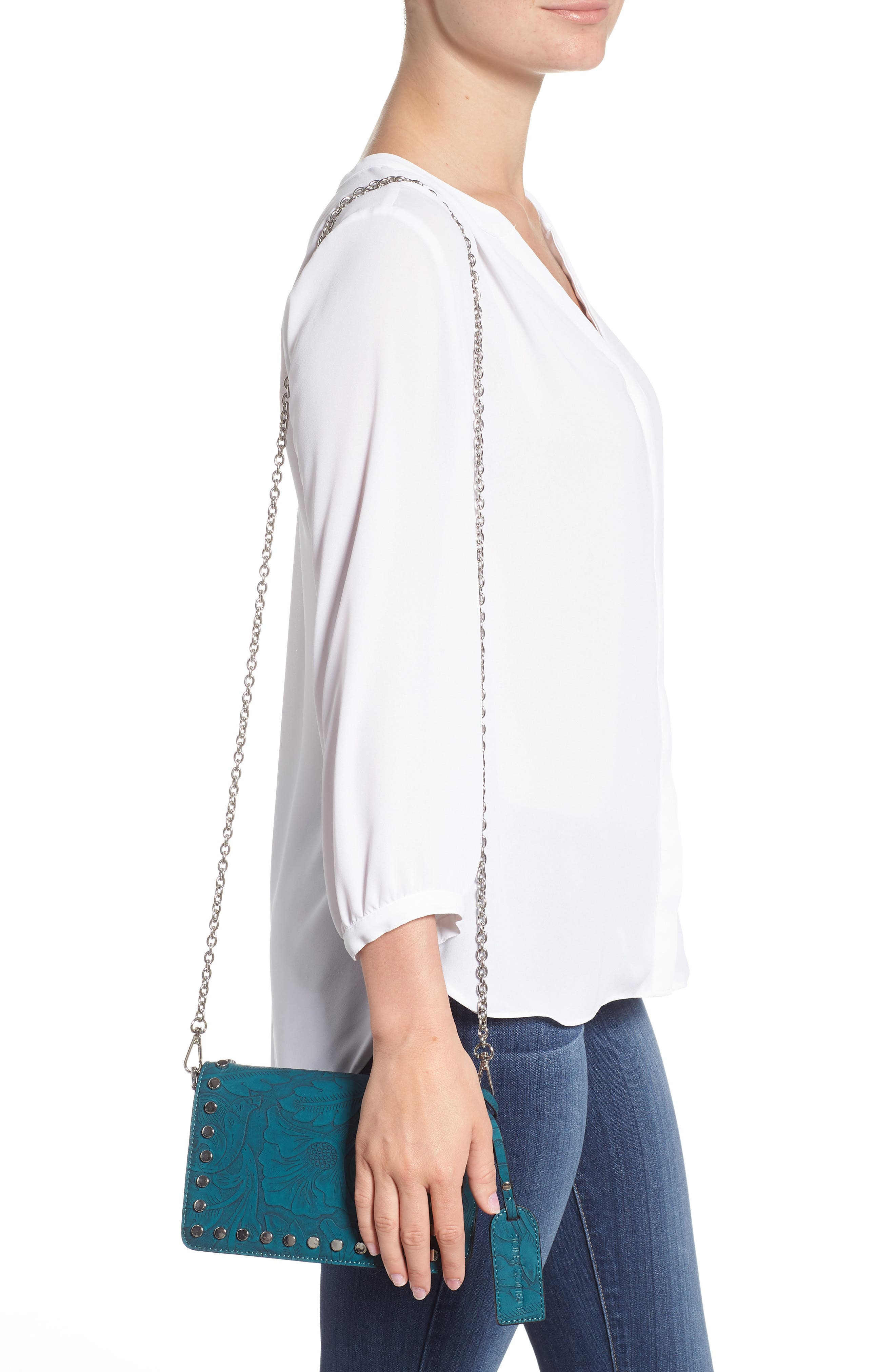 Hawna Faux Leather Crossbody,                             Alternate thumbnail 2, color,                             Teal