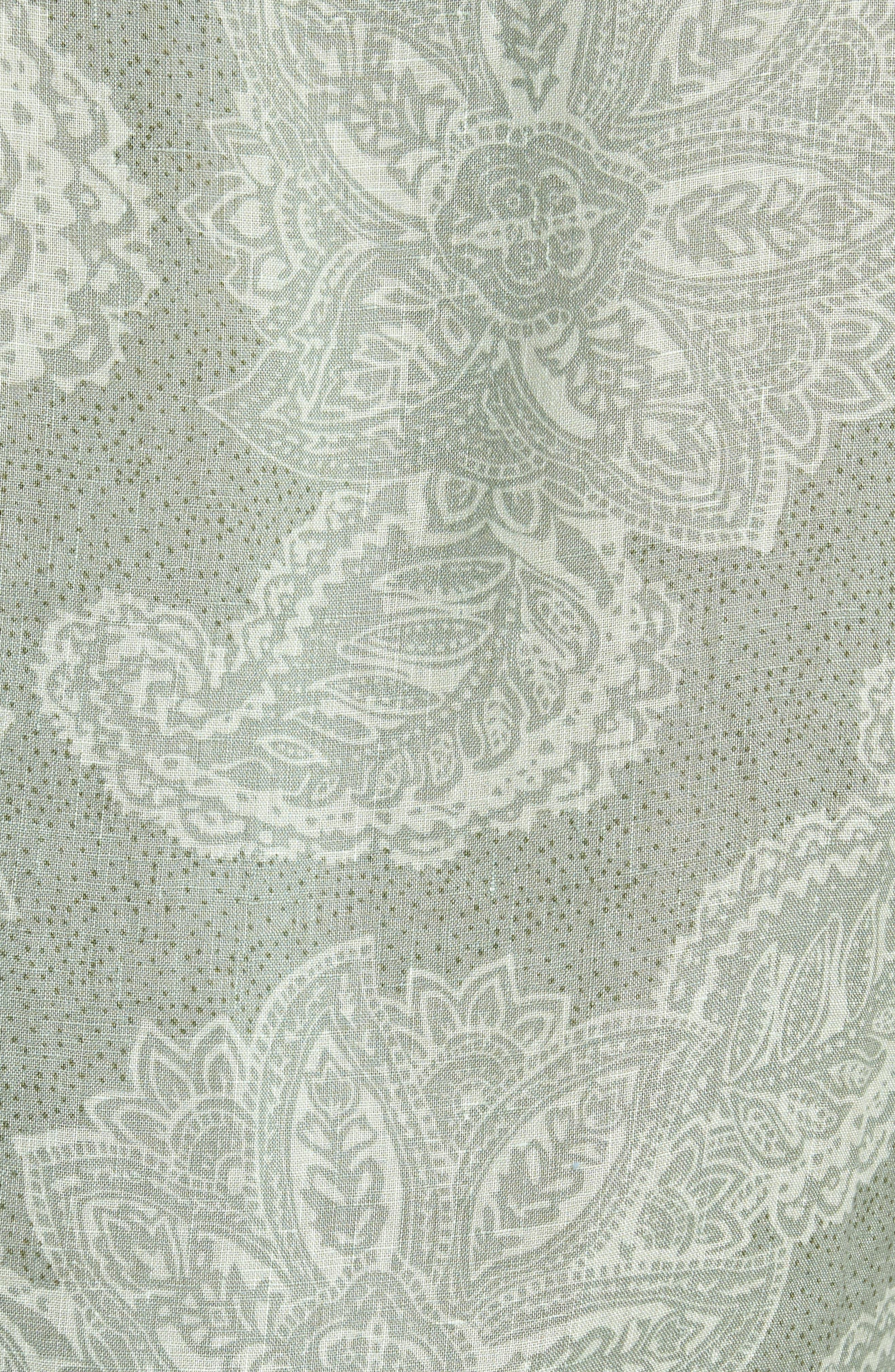 Paisley Linen Camp Shirt,                             Alternate thumbnail 3, color,                             Green Hedge Paisley Print