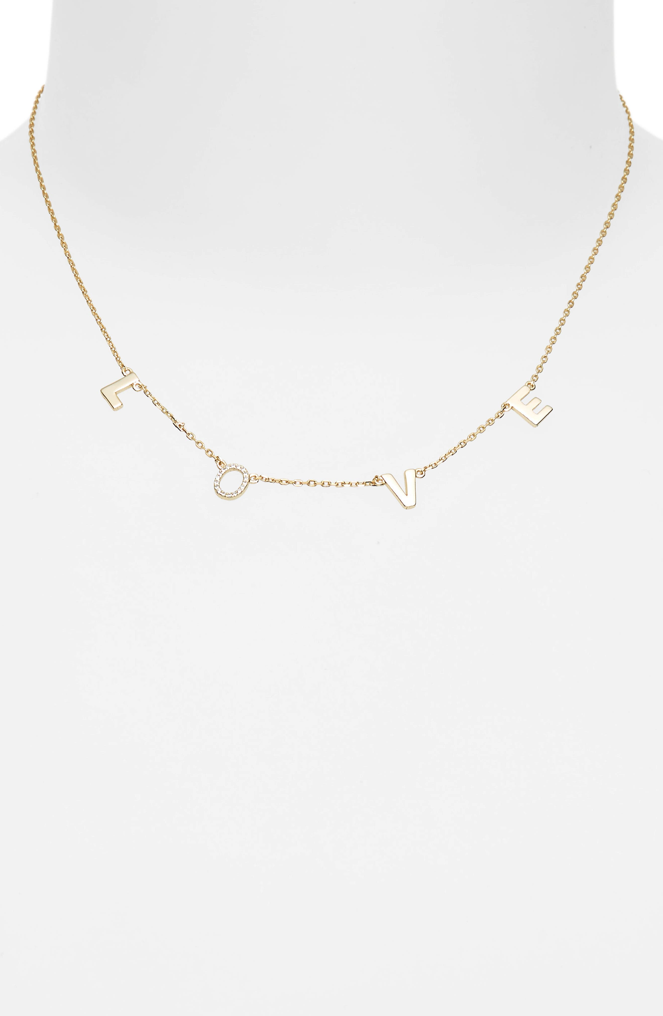 Crystal Love Necklace,                             Alternate thumbnail 2, color,                             Yellow Gold