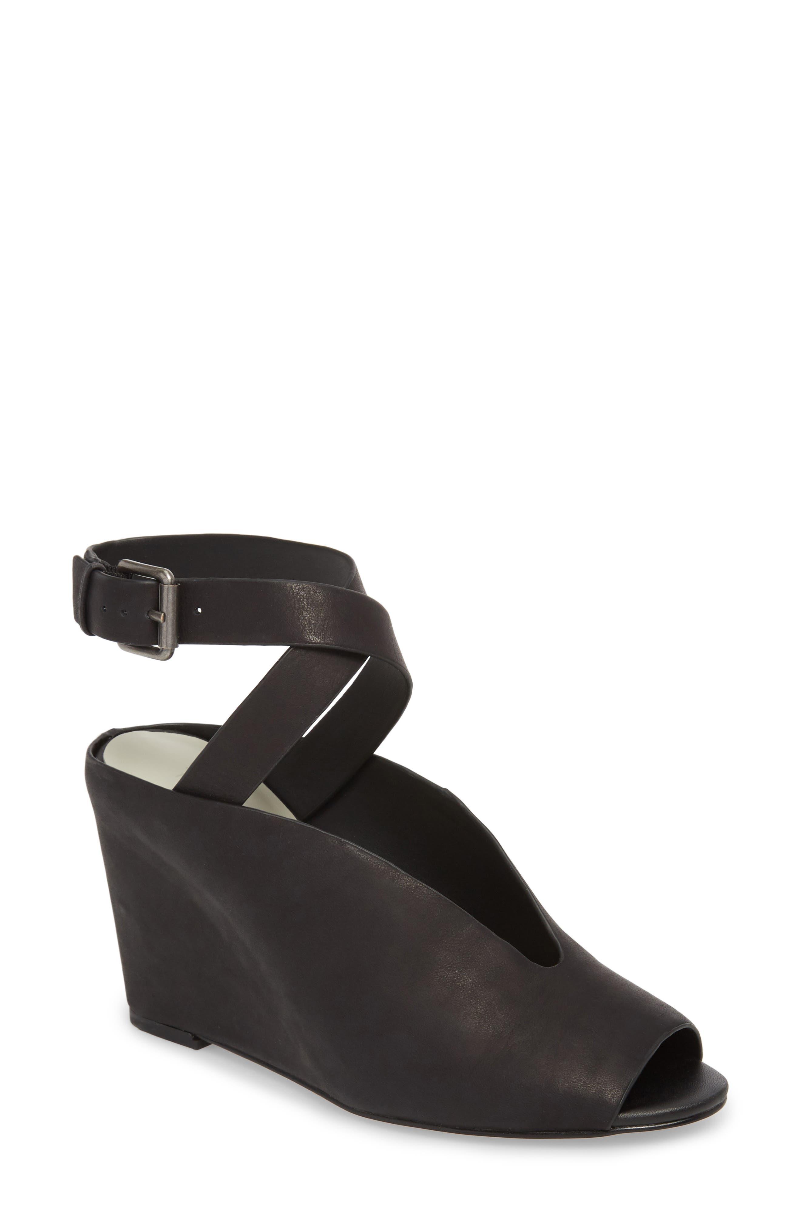 Felidia Wedge Sandal,                         Main,                         color, Black Leather