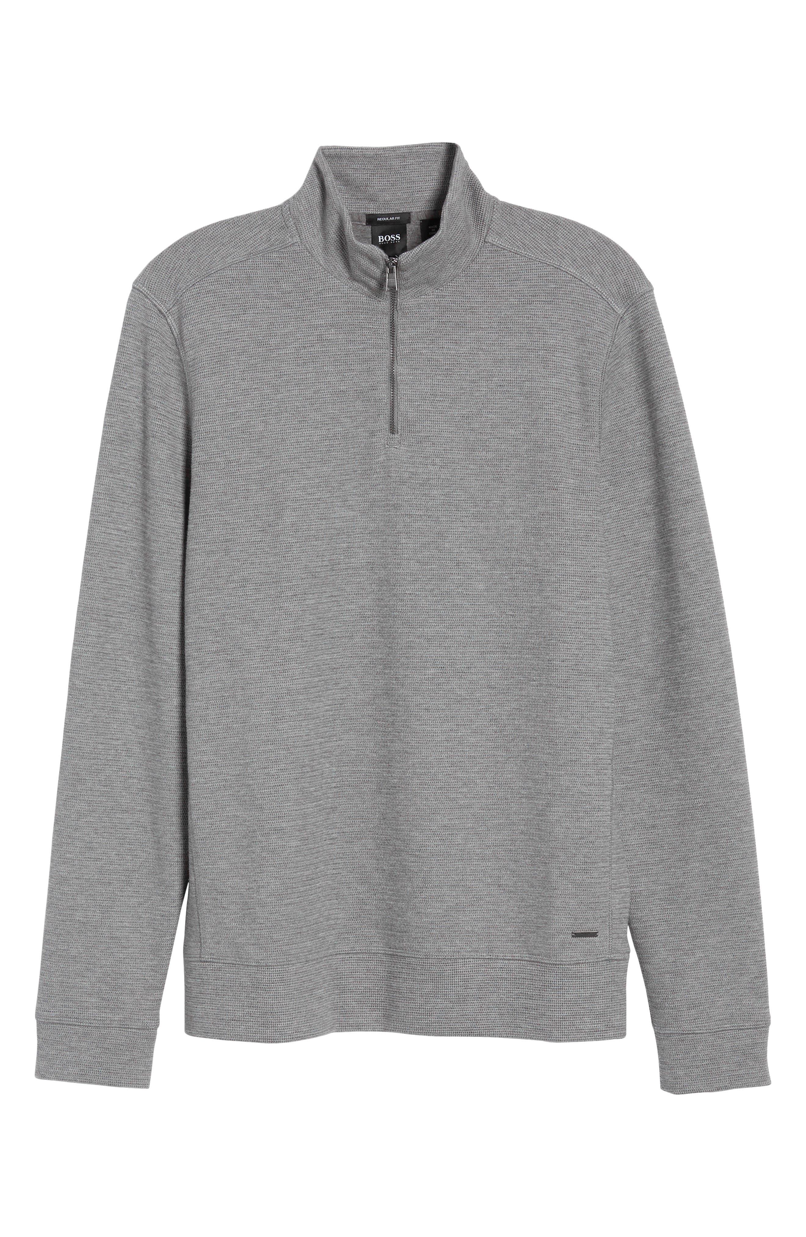Hugo Boss Regular Fit Sidney Quarter Zip Pullover,                             Alternate thumbnail 6, color,                             Grey