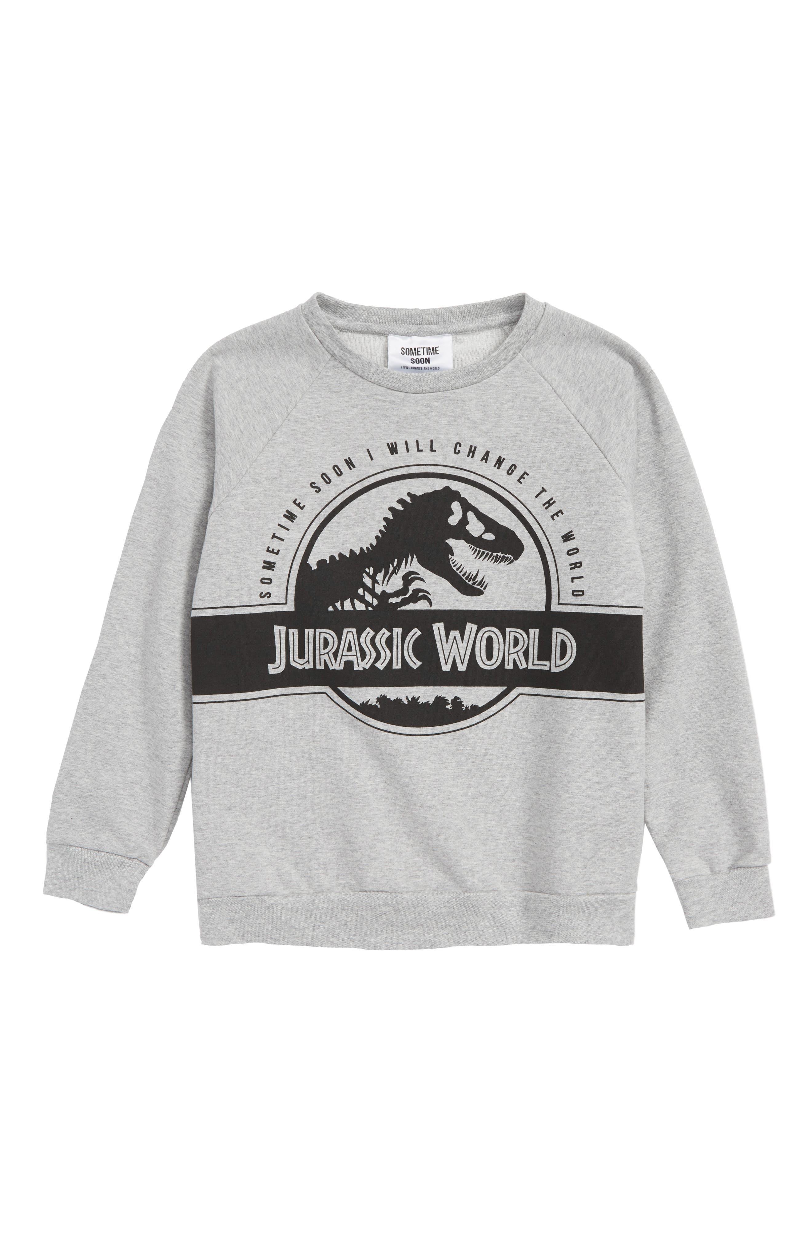 x Jurassic World Rex Graphic Organic Cotton Sweatshirt,                             Main thumbnail 1, color,                             Grey Melange