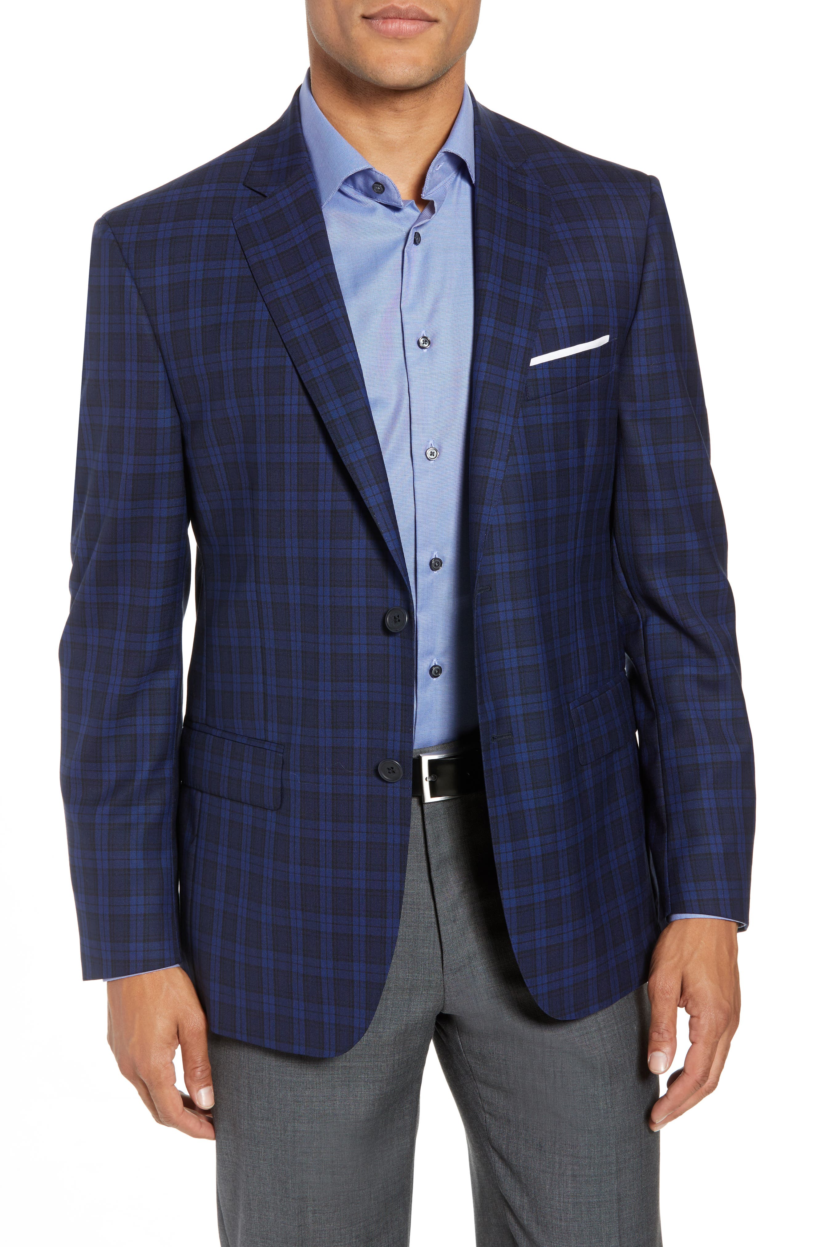 Traditional Fit Plaid Wool Sport Coat,                         Main,                         color, Blue