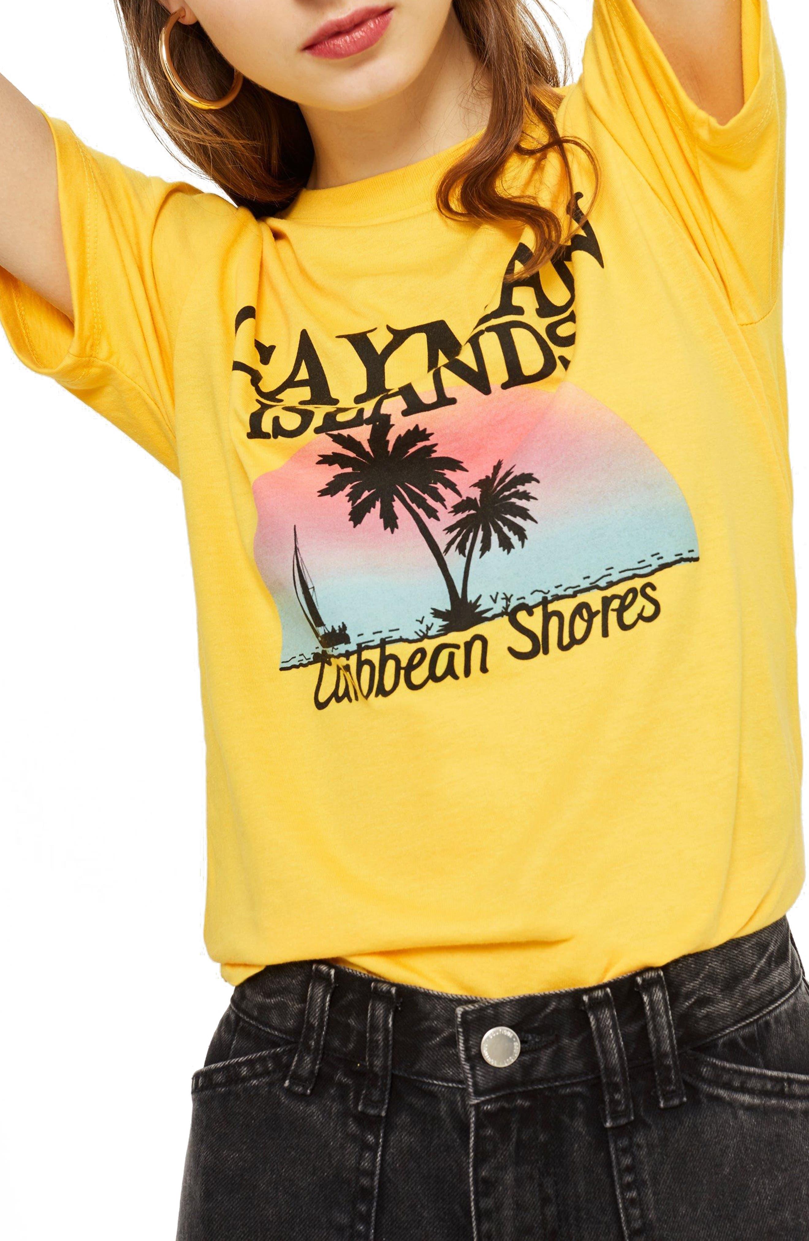Cayman Island Print T-Shirt,                         Main,                         color, Yellow Multi