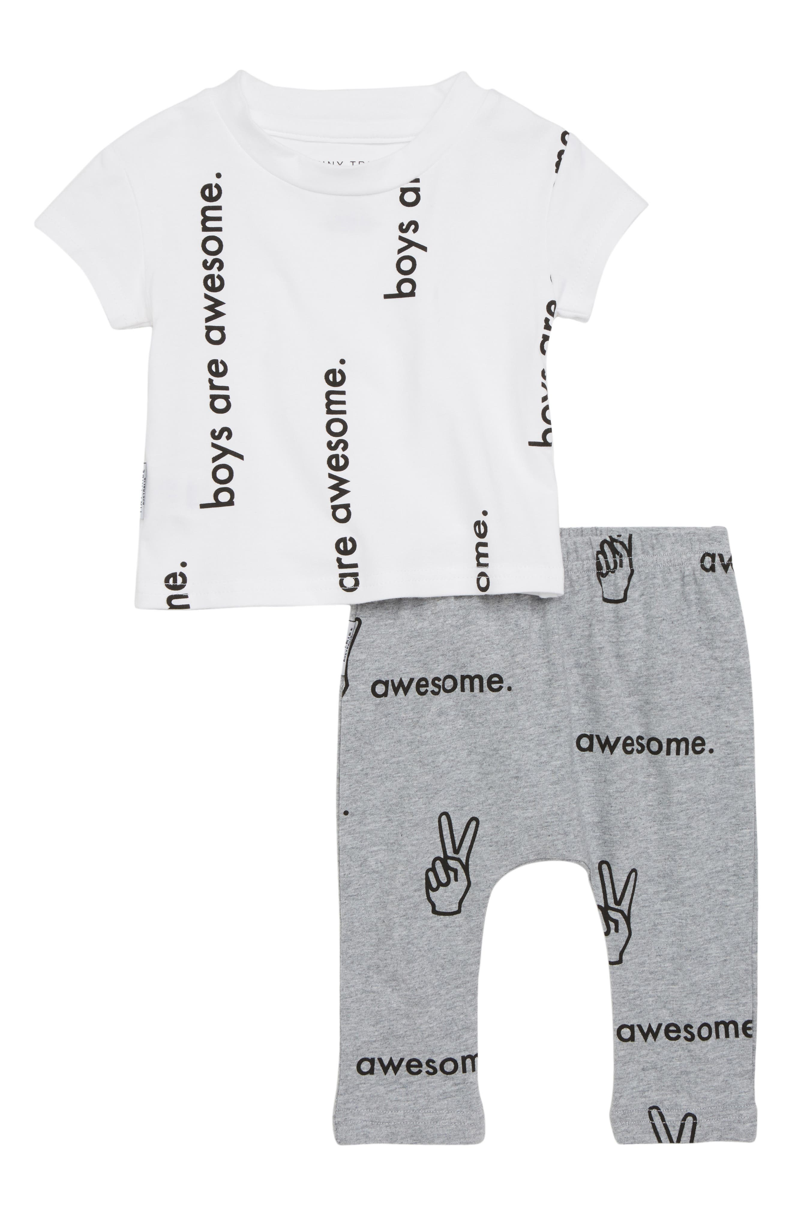 Boys are Awesome Graphic T-Shirt & Pants Set,                             Main thumbnail 1, color,                             White/ Grey