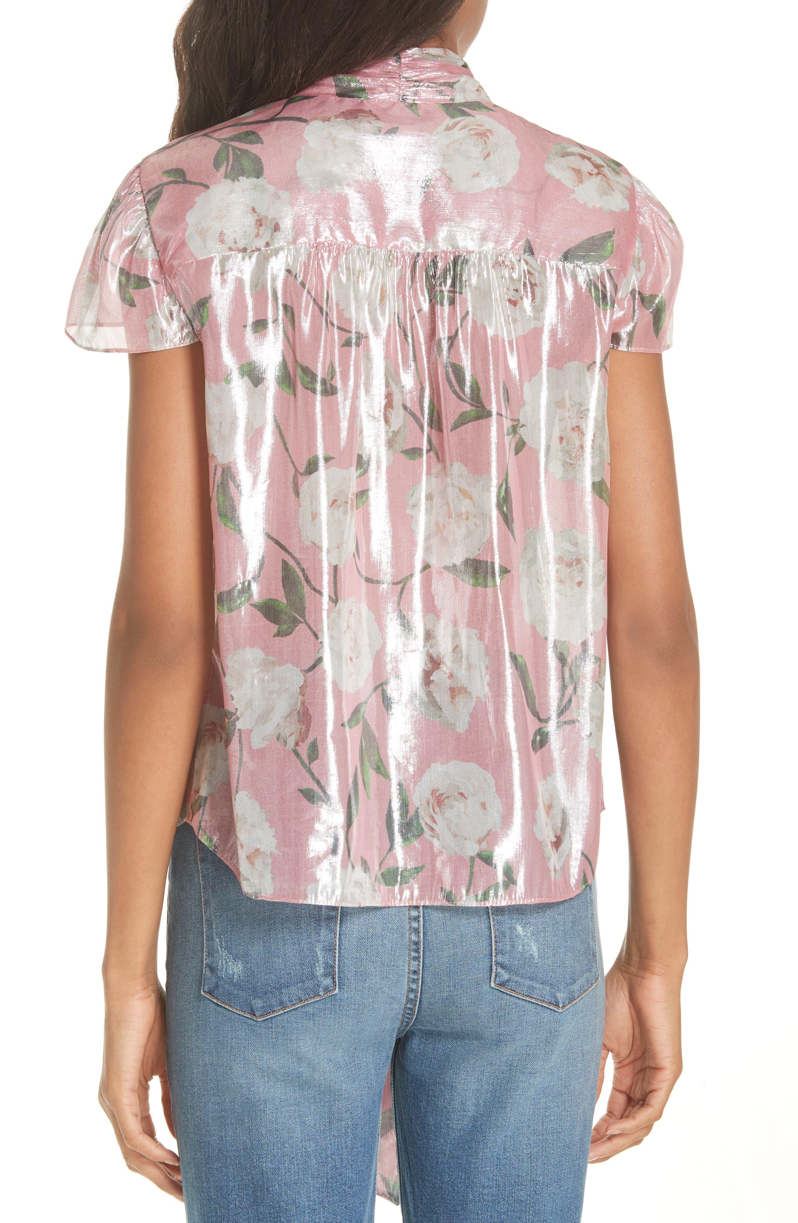 Jeannie Bow Collar Silk Blend Top,                             Alternate thumbnail 2, color,                             Peony Garden Wall/ Bubblegum