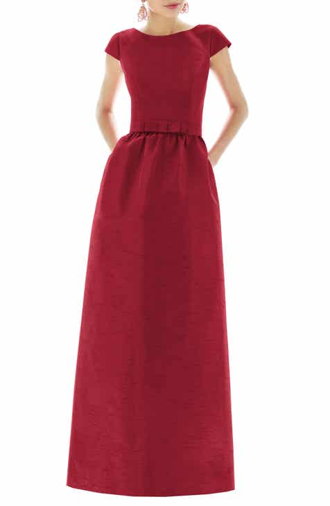 db2ba5478f Alfred Sung Cap Sleeve Dupioni Full Length Dress