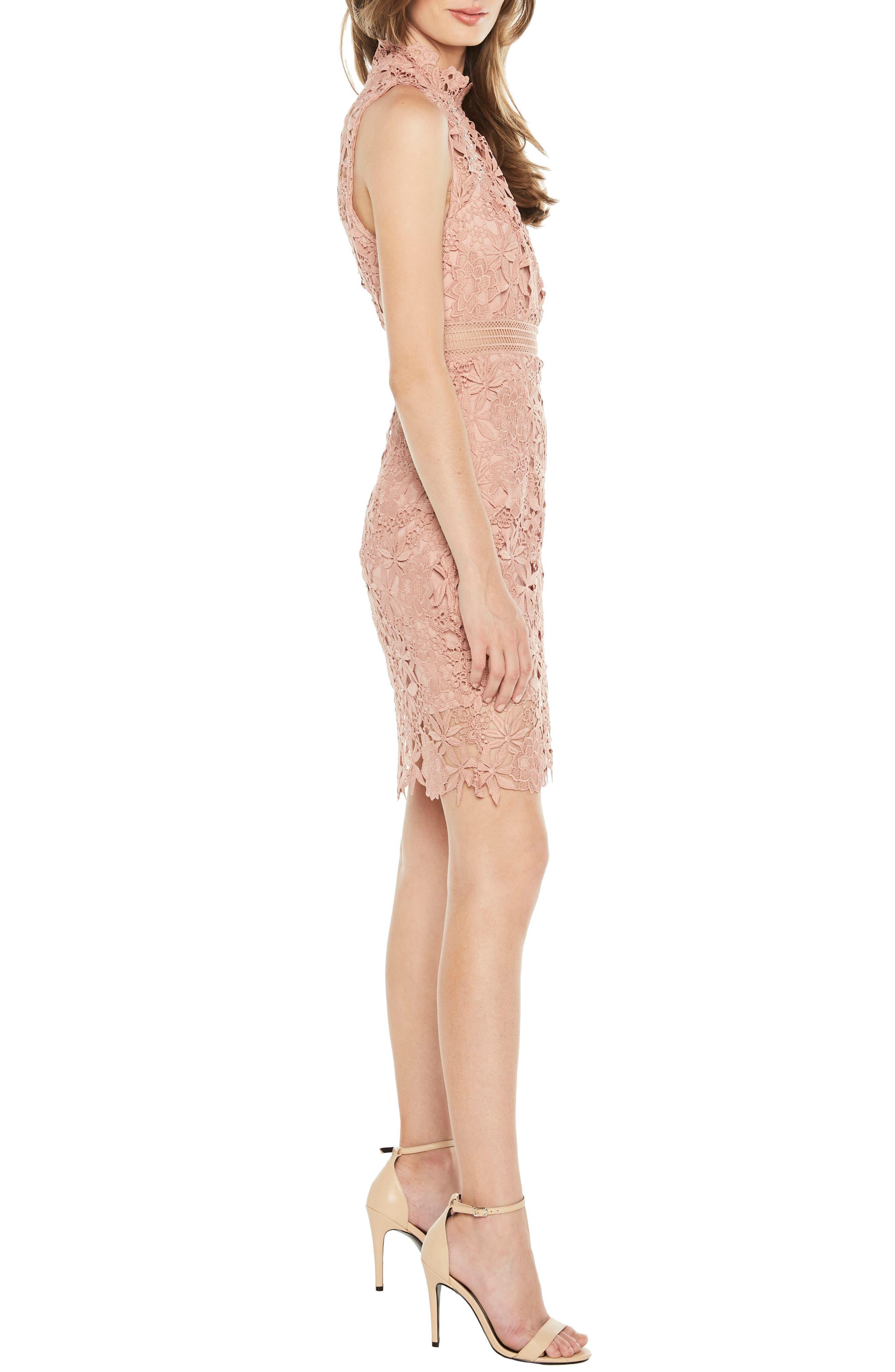 Paris Lace Body-Con Dress,                             Alternate thumbnail 3, color,                             Bloom