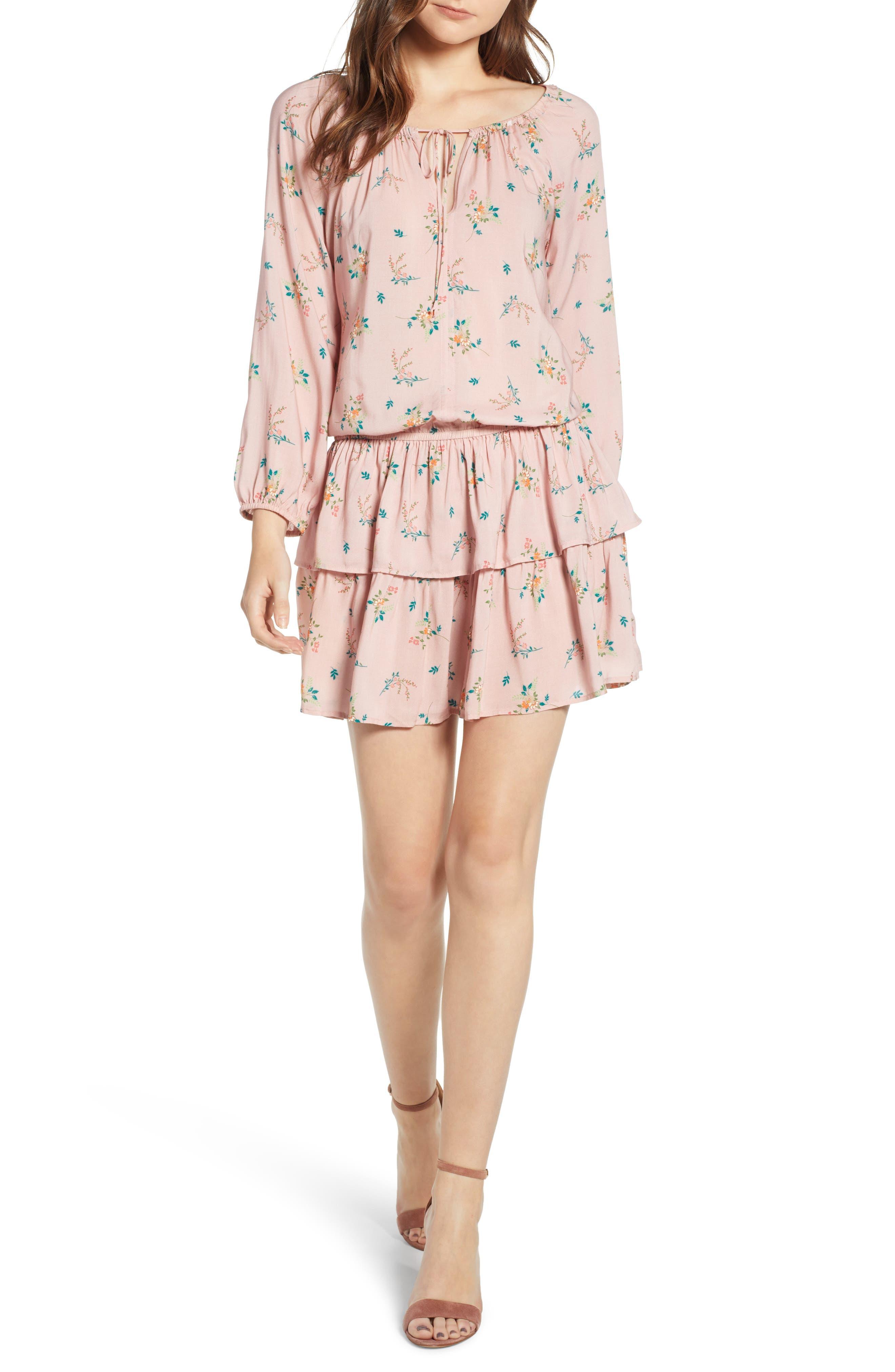 Floral Print Ruffle Minidress,                         Main,                         color, Sweet Pea