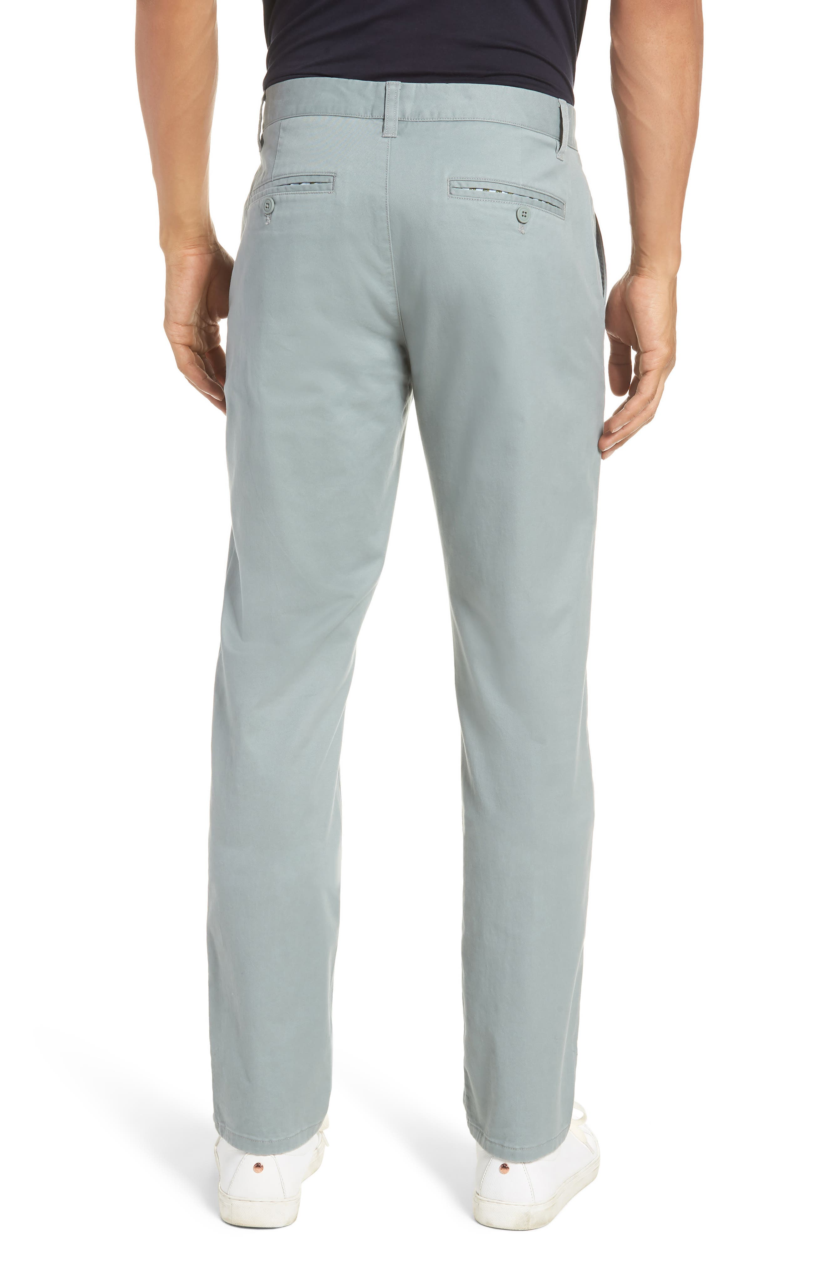 Tailored Fit Washed Stretch Cotton Chinos,                             Alternate thumbnail 2, color,                             Rye Grass