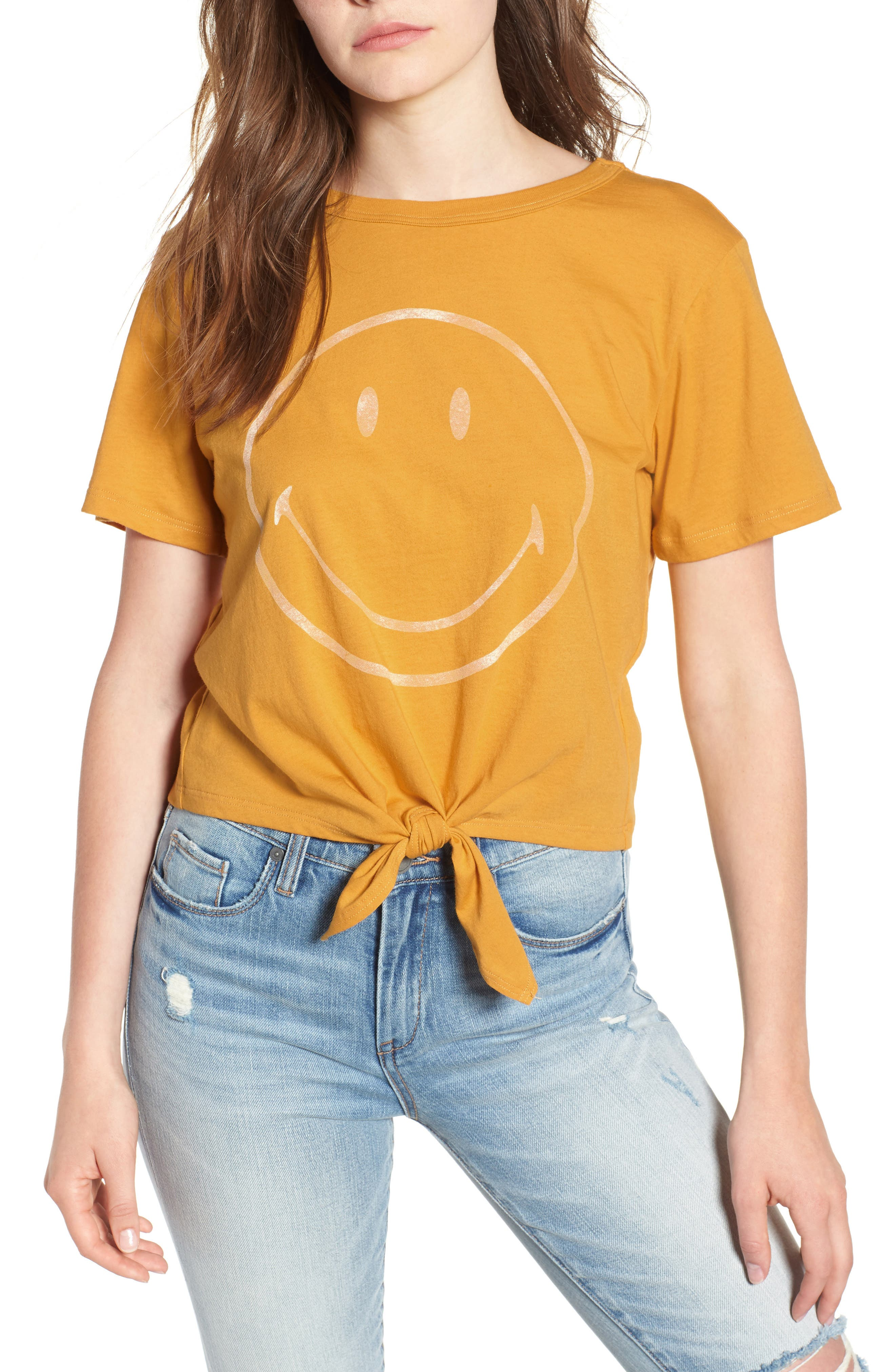 Smiley Tie Hem Boxy Tee,                             Main thumbnail 1, color,                             Golden