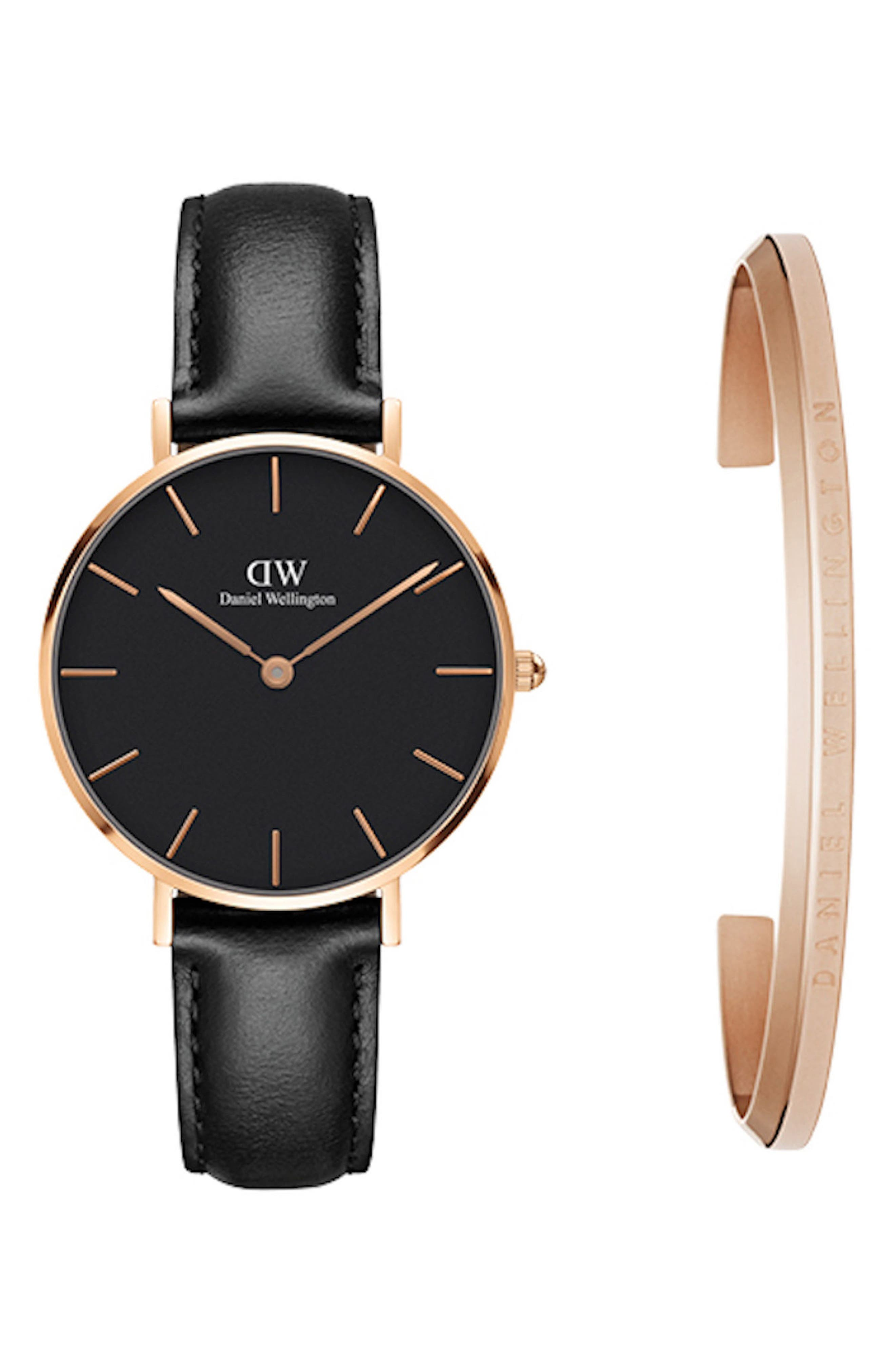 Classic Petite Leather Strap Watch & Cuff Gift Set, 32mm,                         Main,                         color, Black / Rose Gold