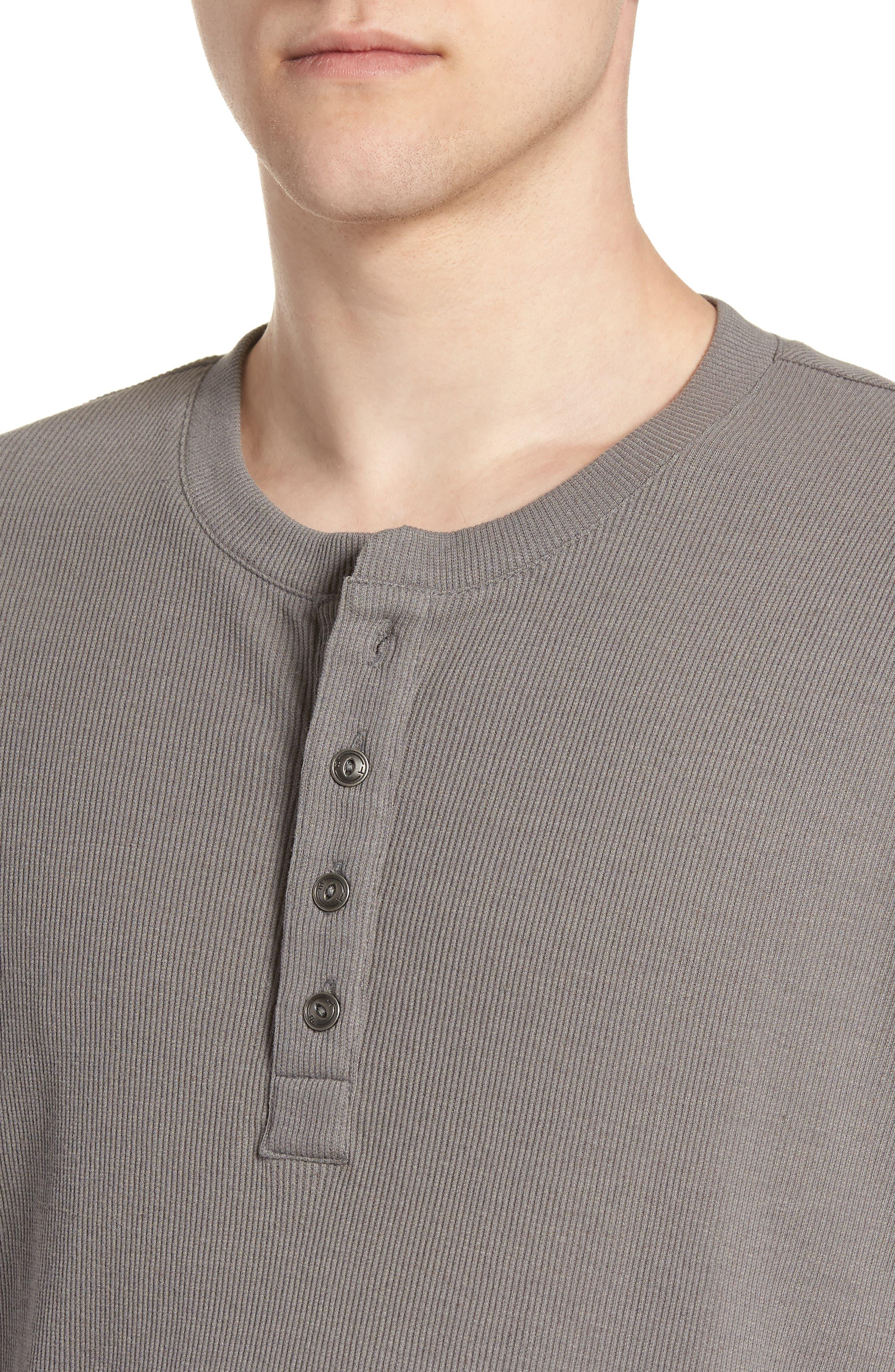 Ribbed Henley T-Shirt,                             Alternate thumbnail 3, color,                             Grey Shade