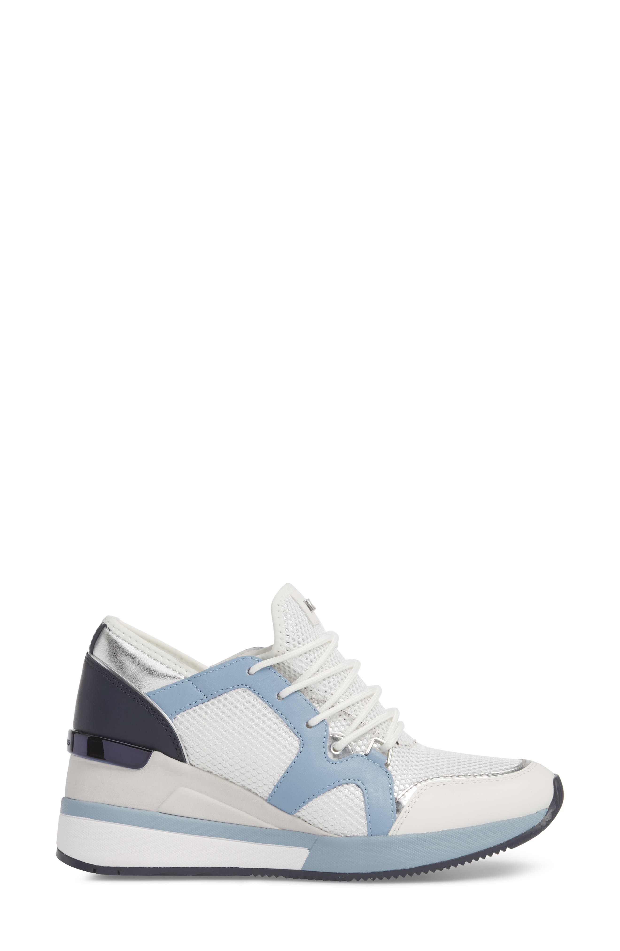 Scout Wedge Sneaker,                             Alternate thumbnail 3, color,                             Optic White/Blue