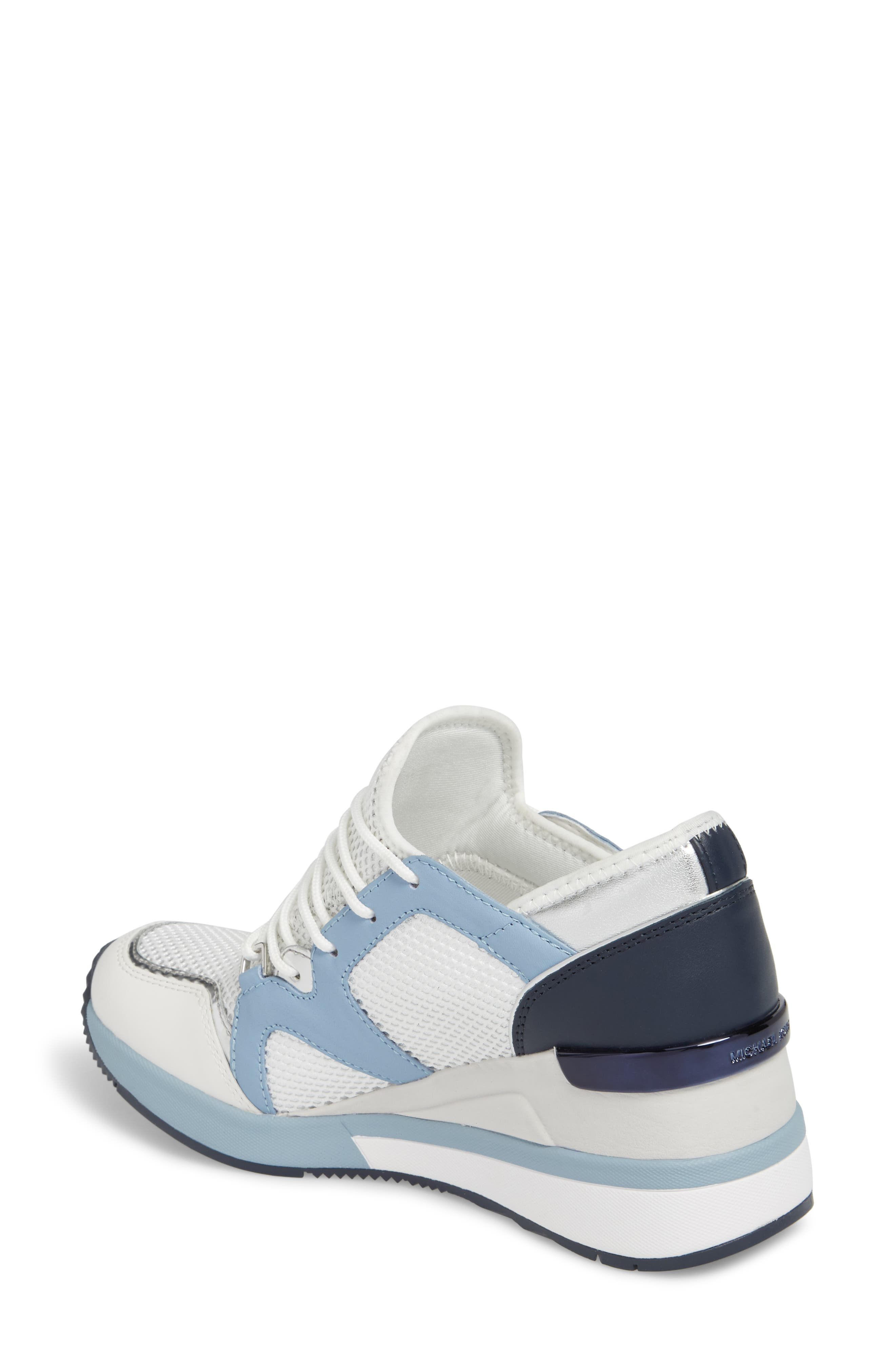 Scout Wedge Sneaker,                             Alternate thumbnail 2, color,                             Optic White/Blue