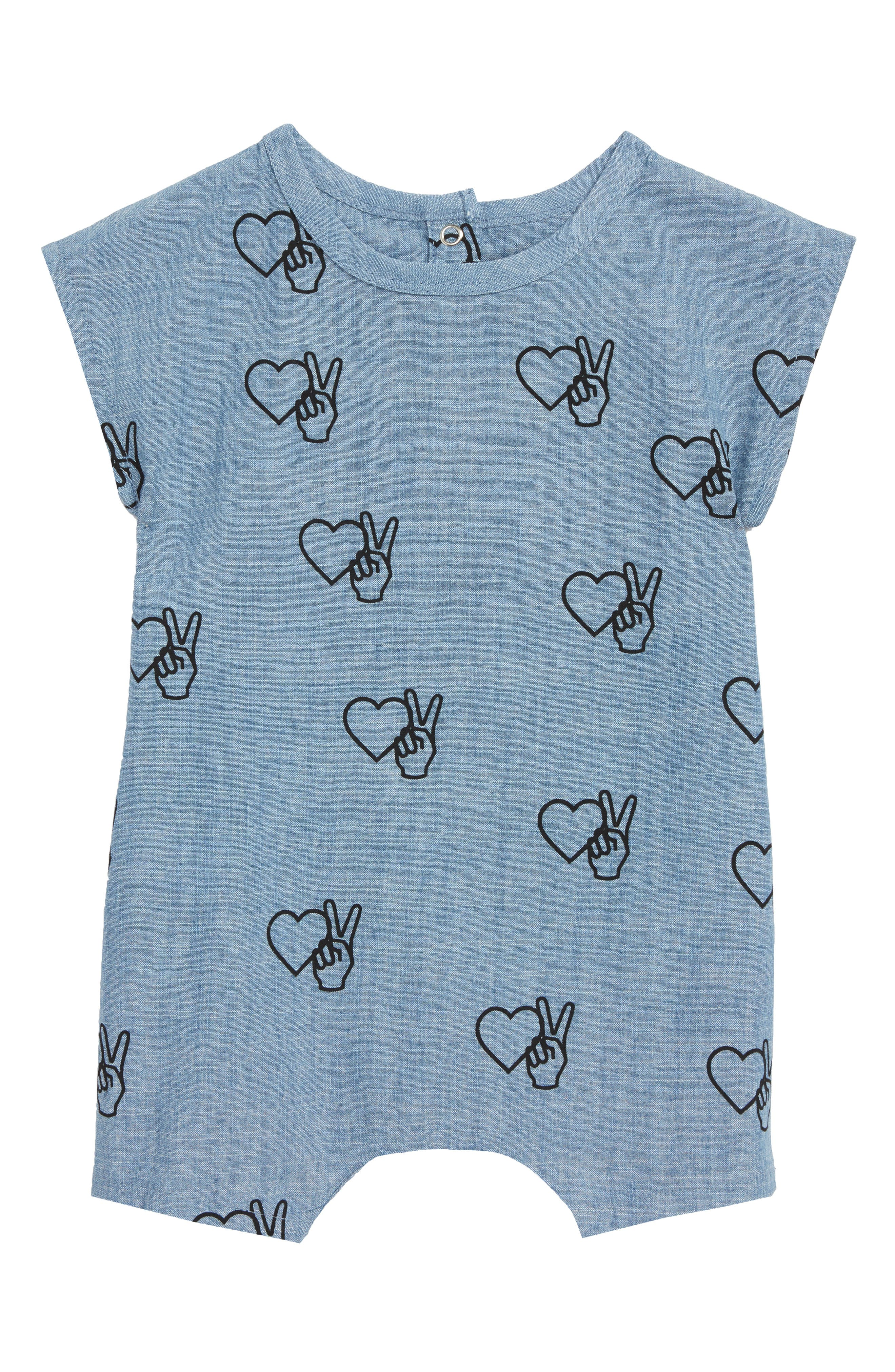 Girl Almighty Chambray Romper,                         Main,                         color, Chambray