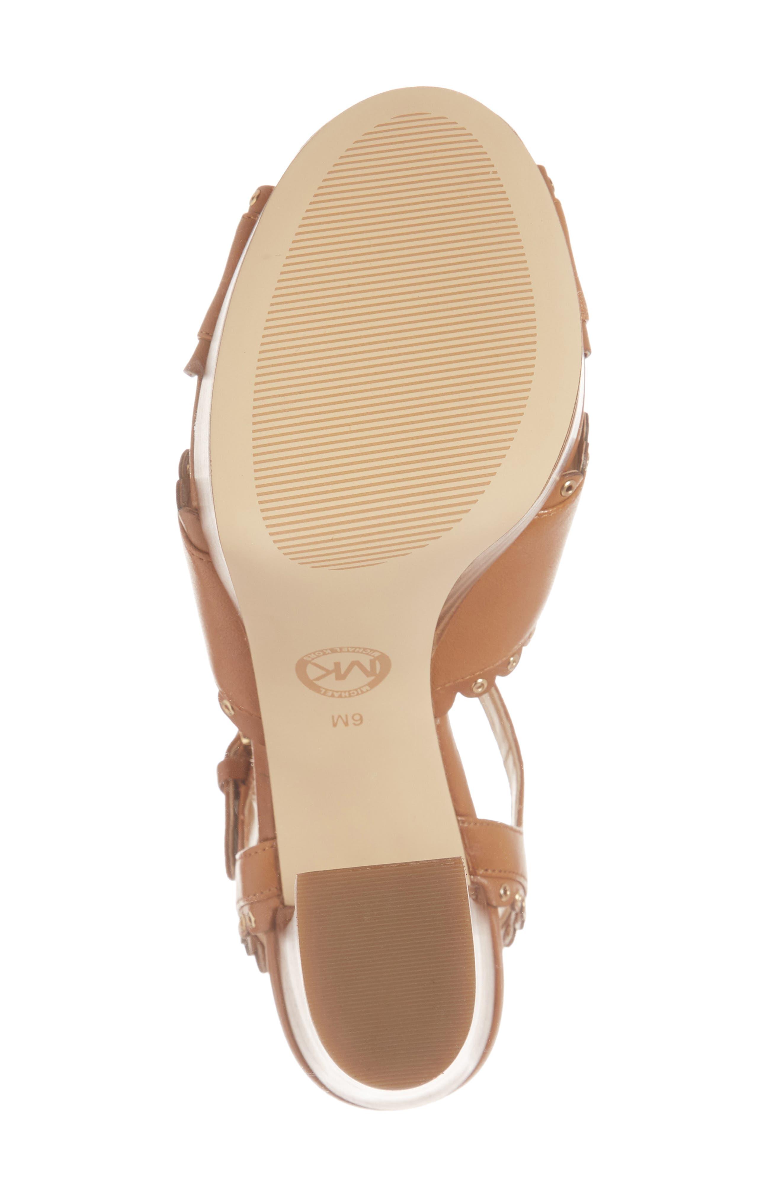 Jessie Platform Sandal,                             Alternate thumbnail 6, color,                             Acorn Leather