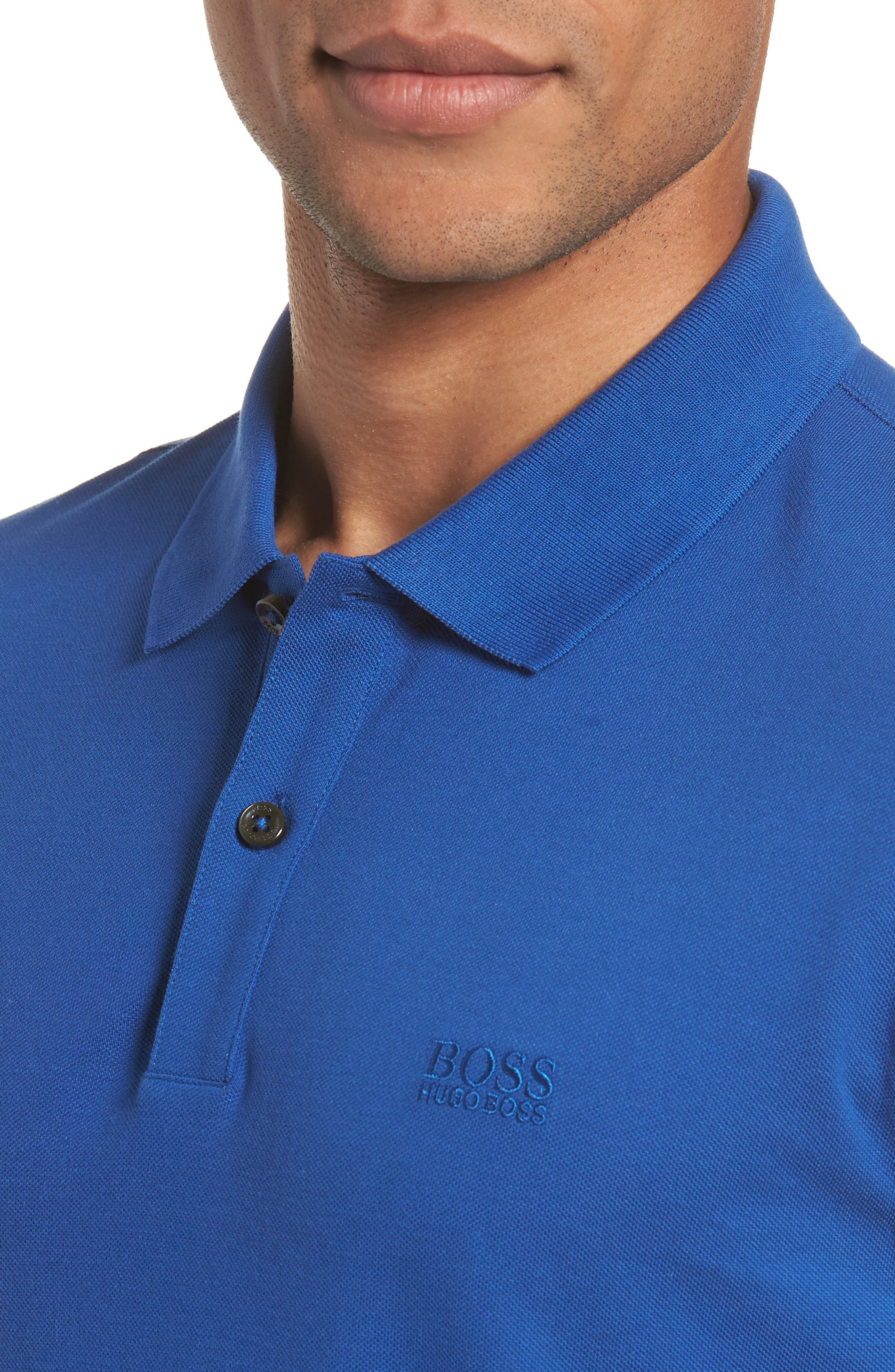 'Pallas' Regular Fit Logo Embroidered Polo Shirt,                             Alternate thumbnail 4, color,                             Open Blue