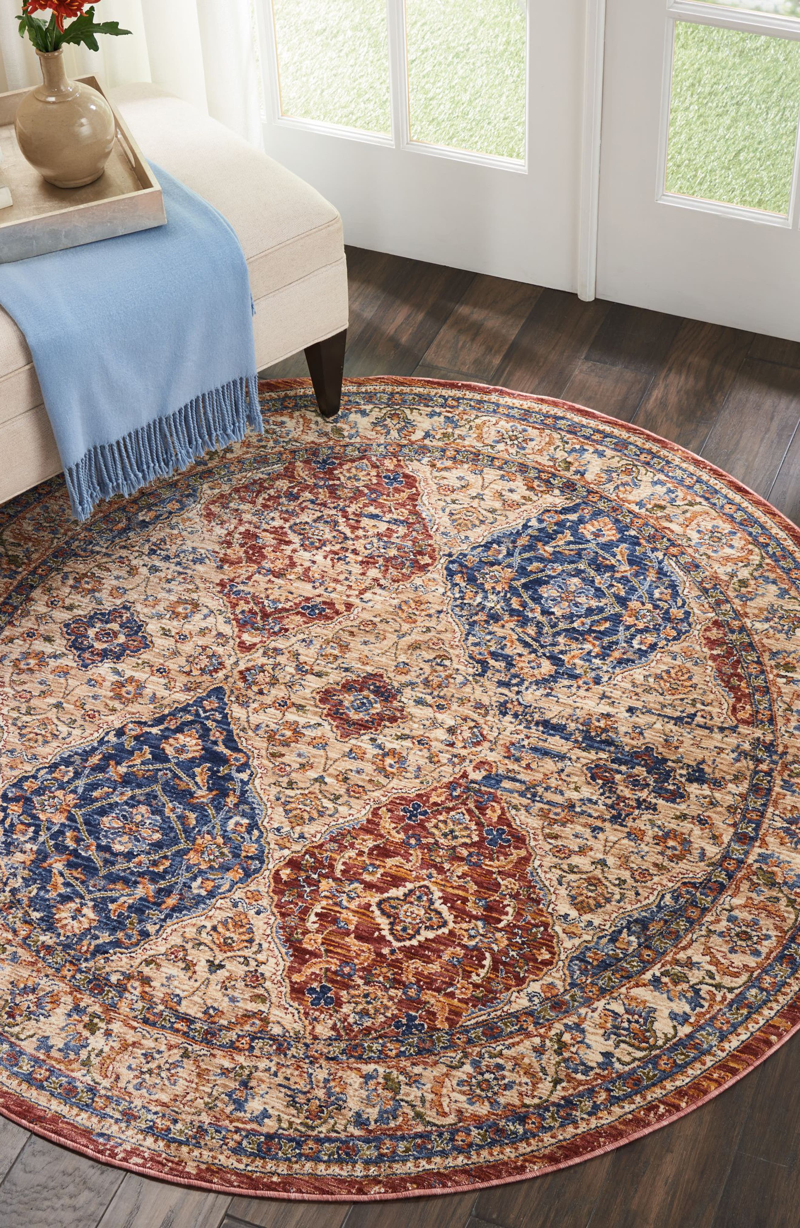 Vivid Ivory Round Area Rug,                             Alternate thumbnail 2, color,                             Multicolor