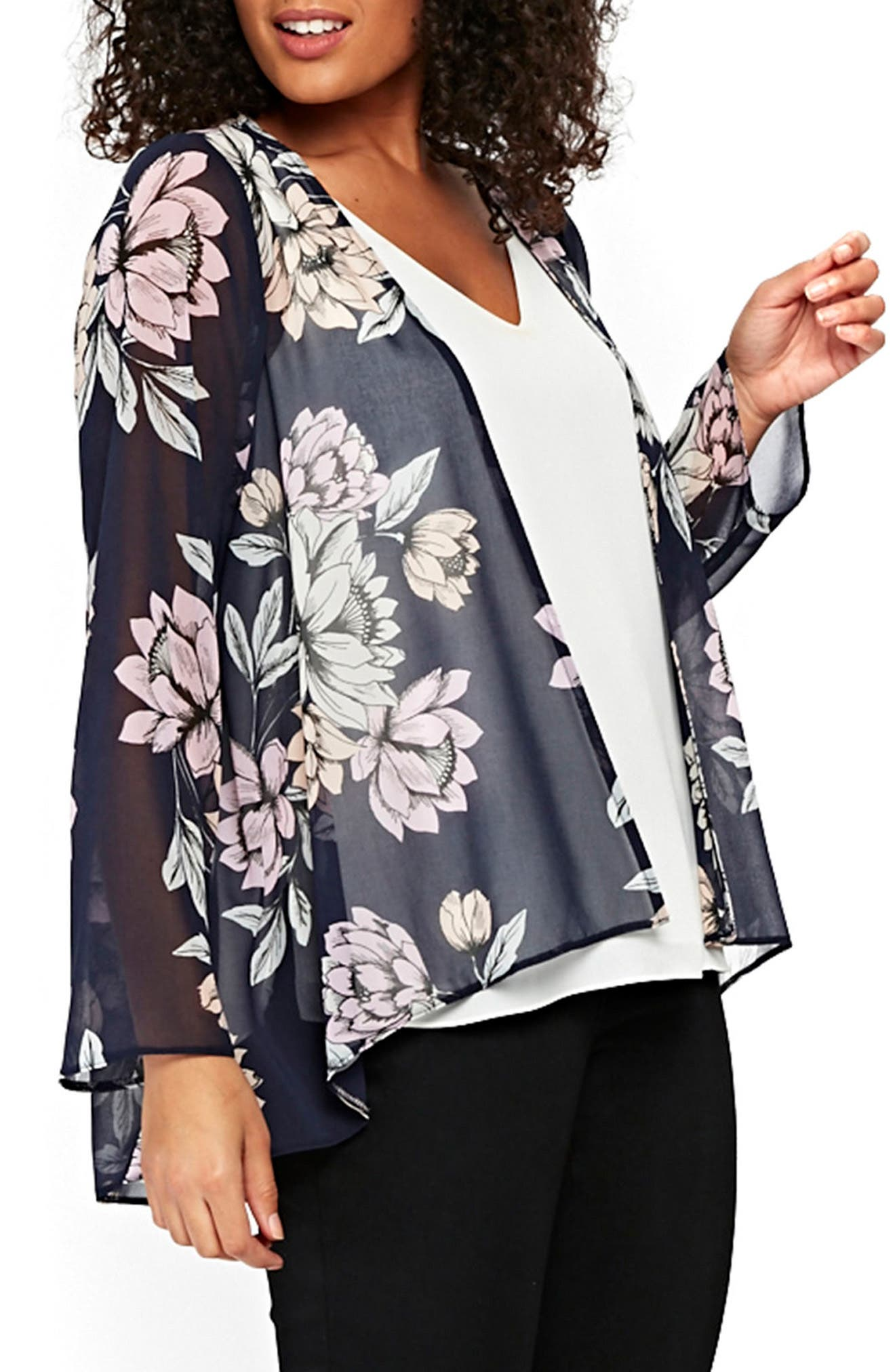 Floral Kimono Jacket,                             Alternate thumbnail 4, color,                             Navy