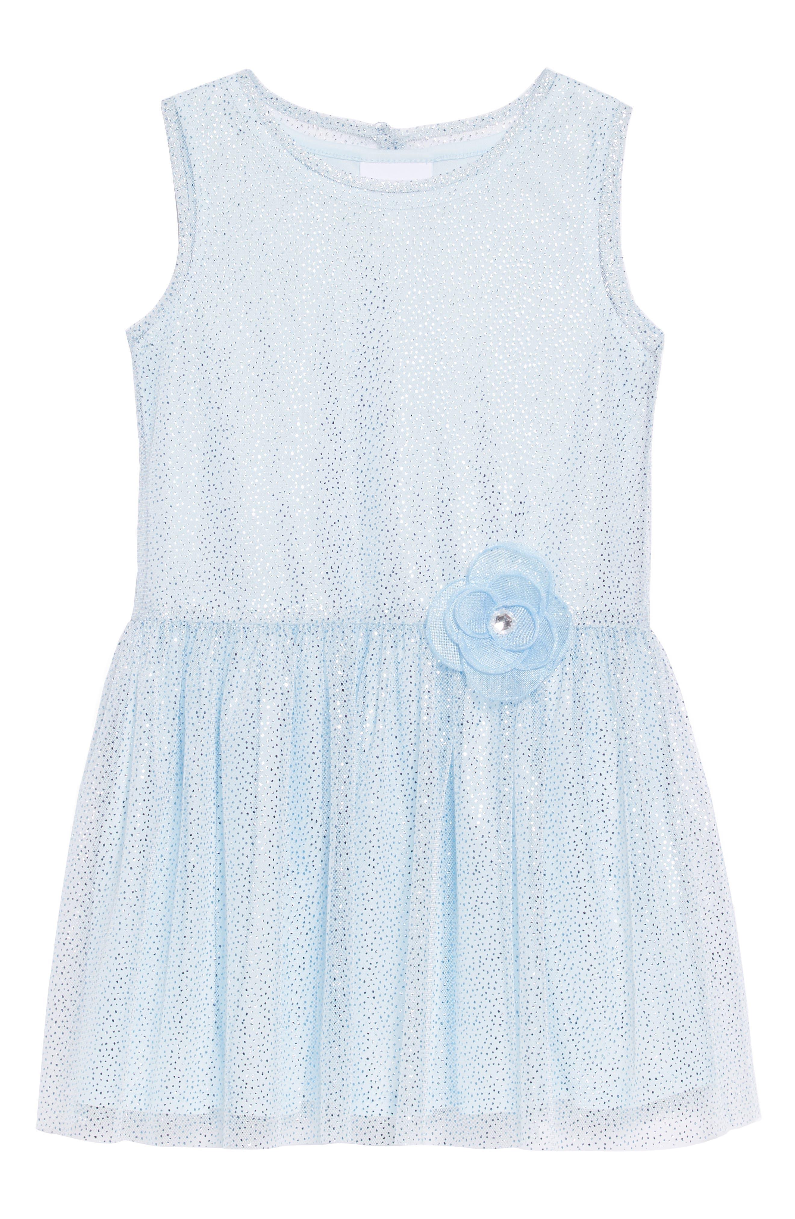 Sparkle Mesh Overlay Dress,                         Main,                         color, Blue