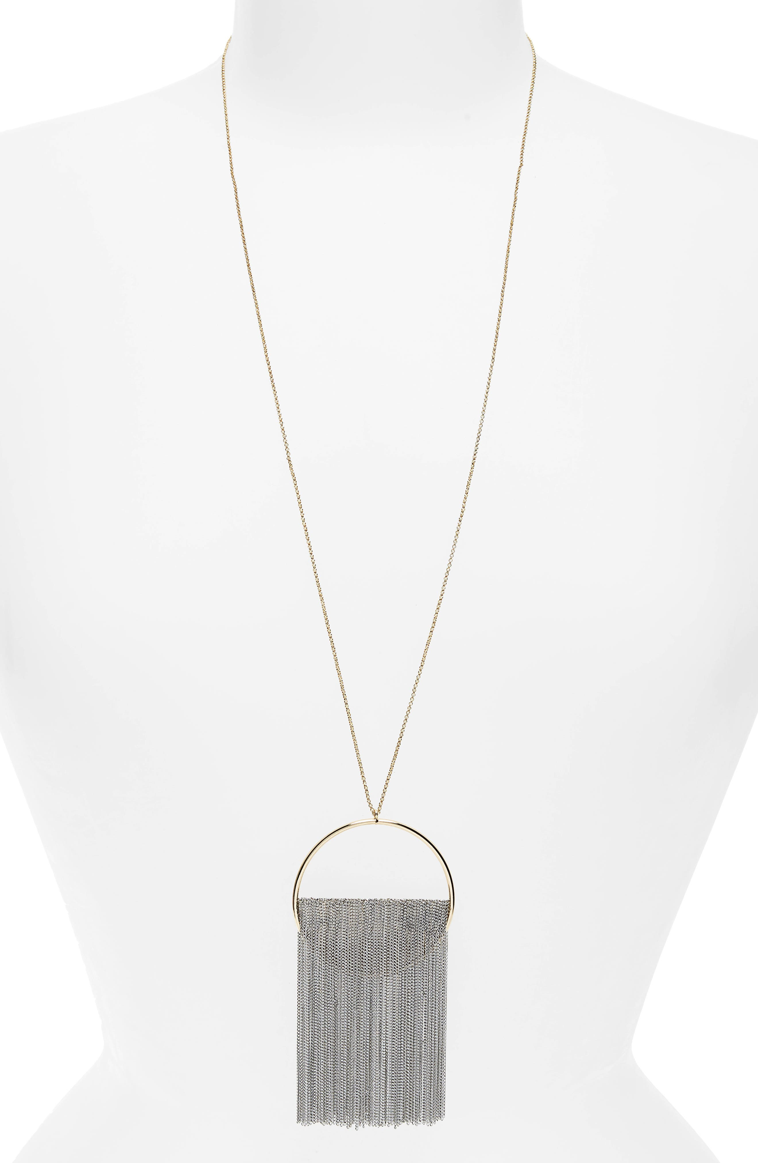 Fringe Pendant Necklace,                         Main,                         color, Gold