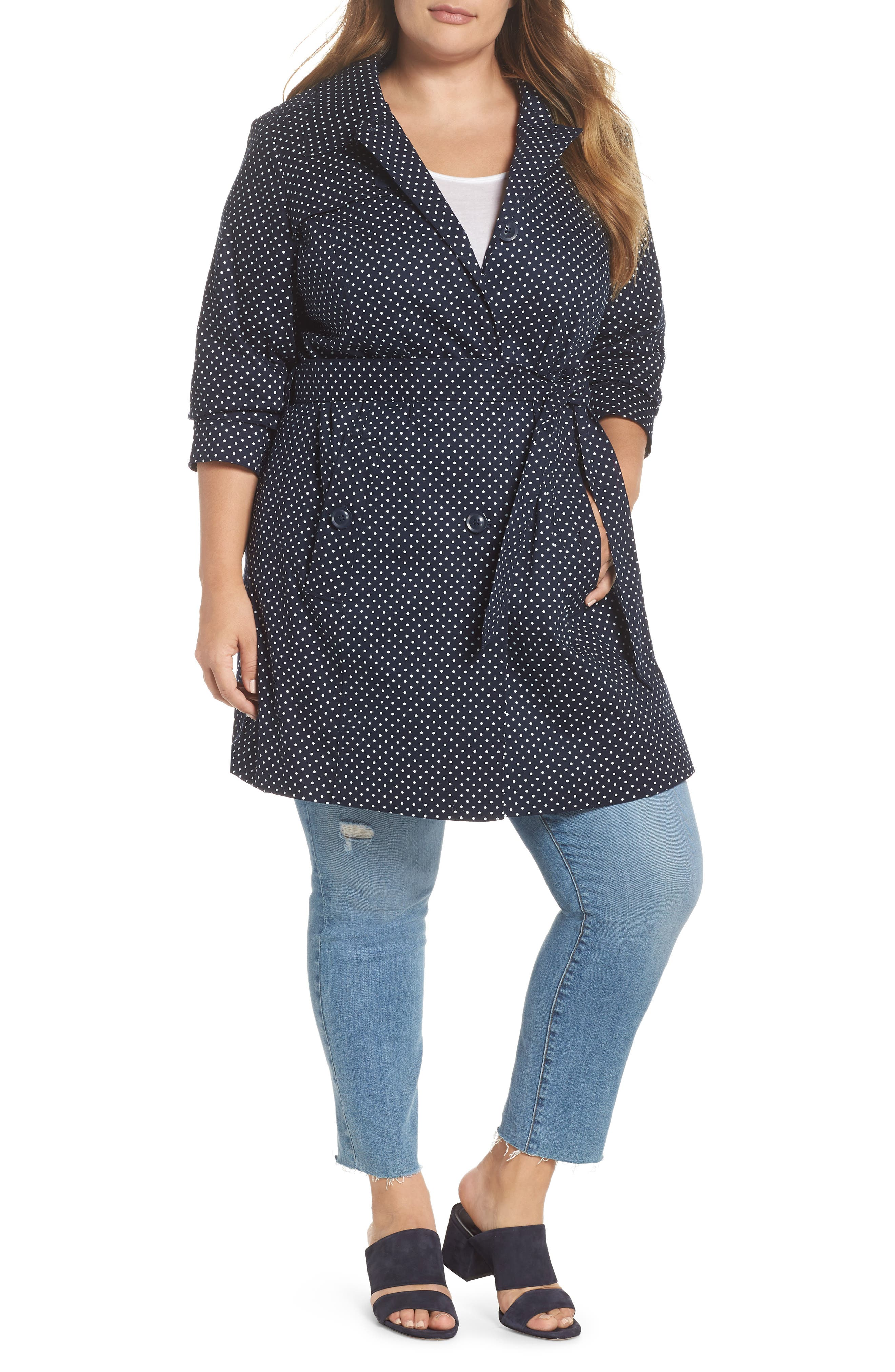 Polka Dot Single Breasted Trench Coat,                         Main,                         color, Navy