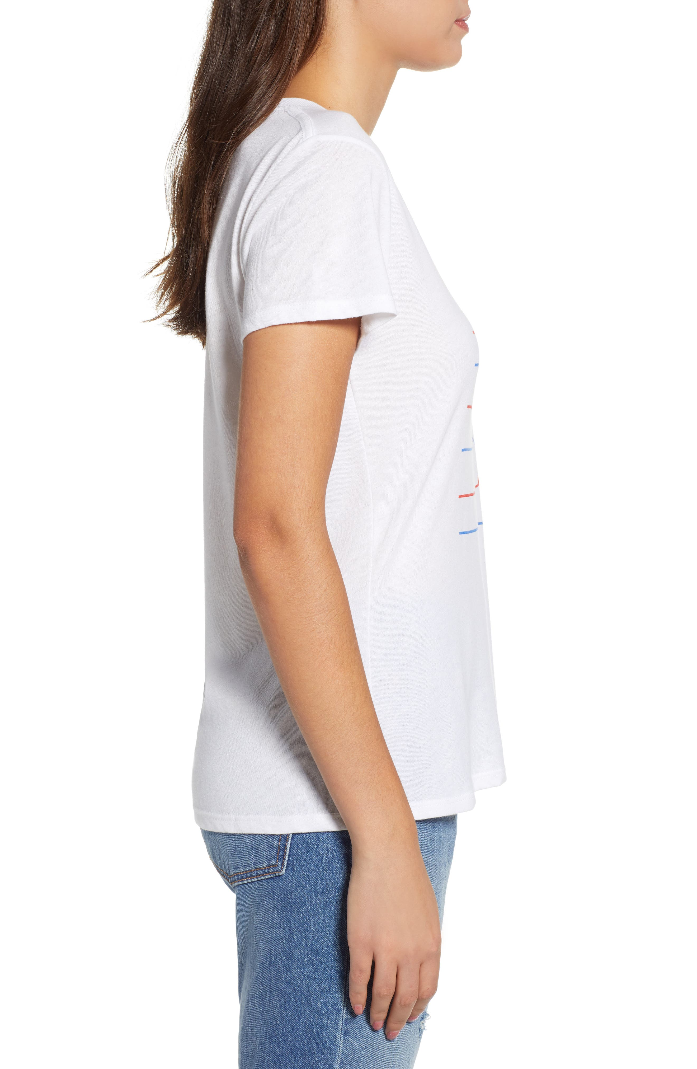 Stripes Slouched Tee,                             Alternate thumbnail 5, color,                             White