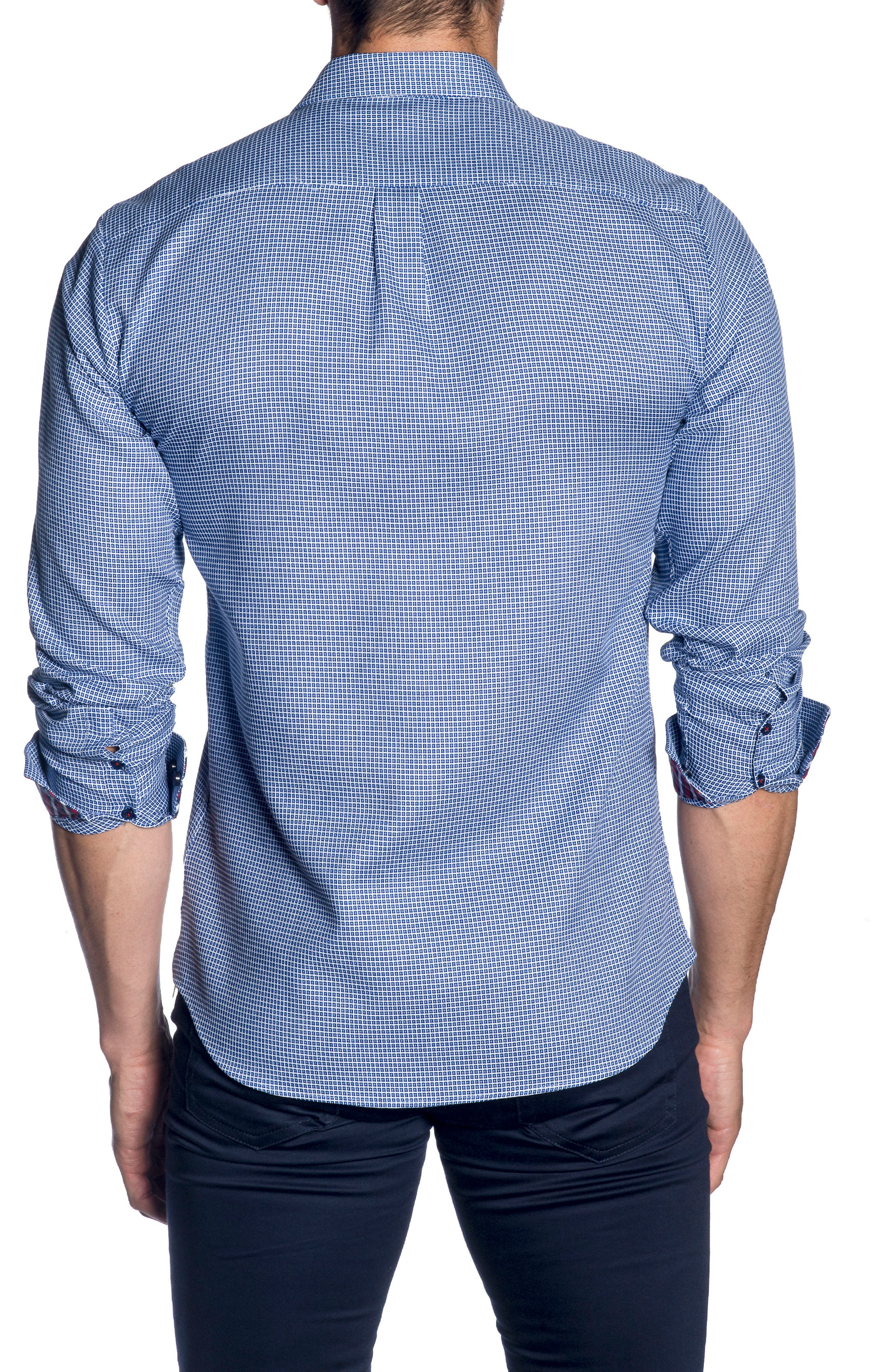 Trim Fit Sport Shirt,                             Alternate thumbnail 2, color,                             French Blue  White