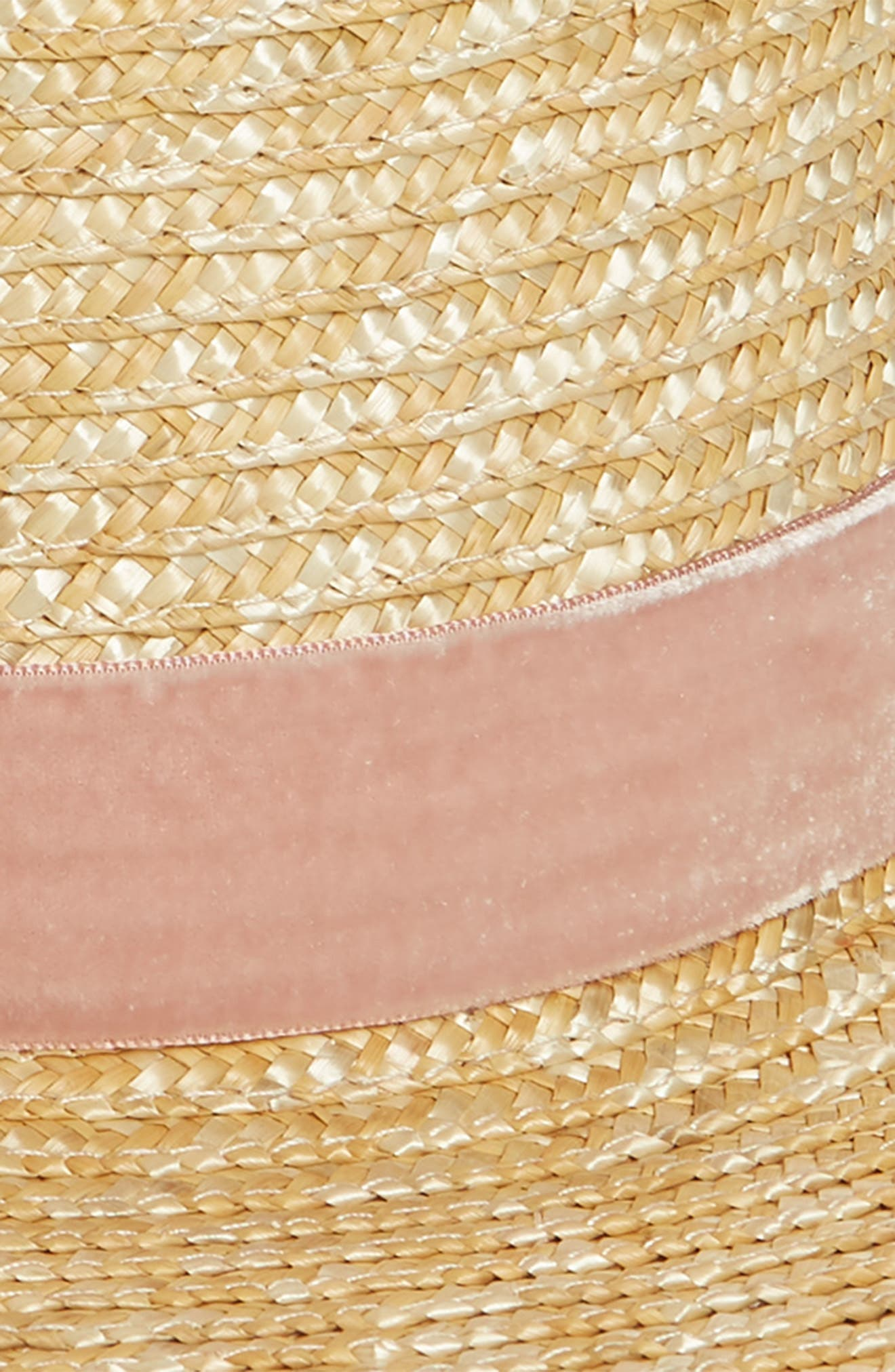 Pink Velour Straw Hat,                             Alternate thumbnail 3, color,                             Pink/ Natural