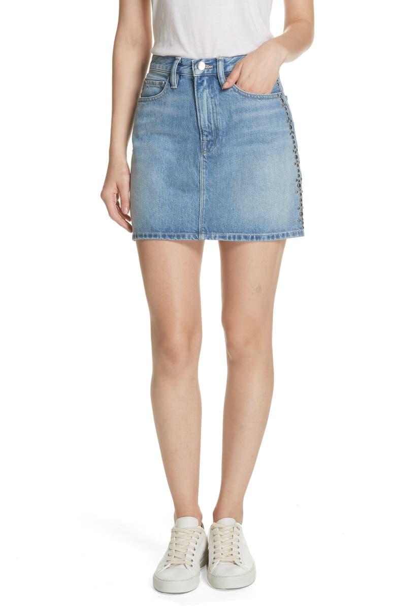 Le Studded Denim Miniskirt