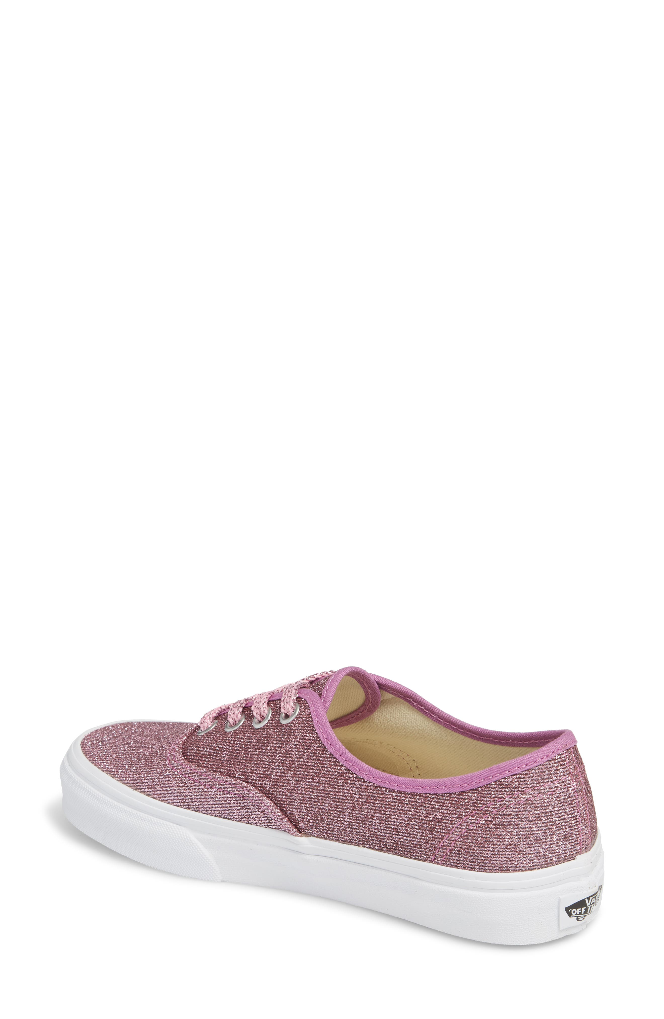 UA Authentic Lurex Sneaker,                             Alternate thumbnail 2, color,                             Pink/ True White Glitter
