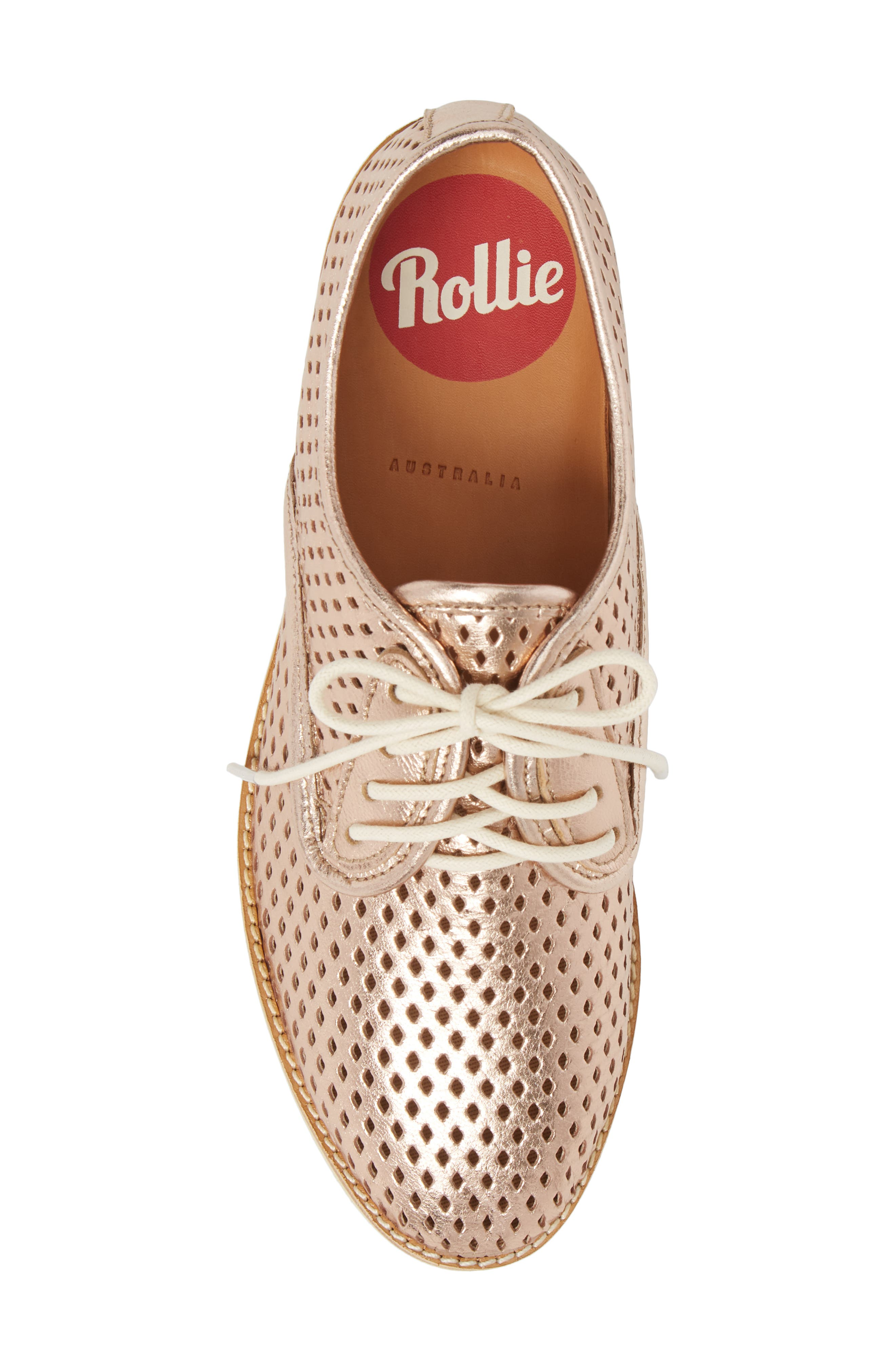 Punch Perforated Derby,                             Alternate thumbnail 3, color,                             Rose Gold Leather