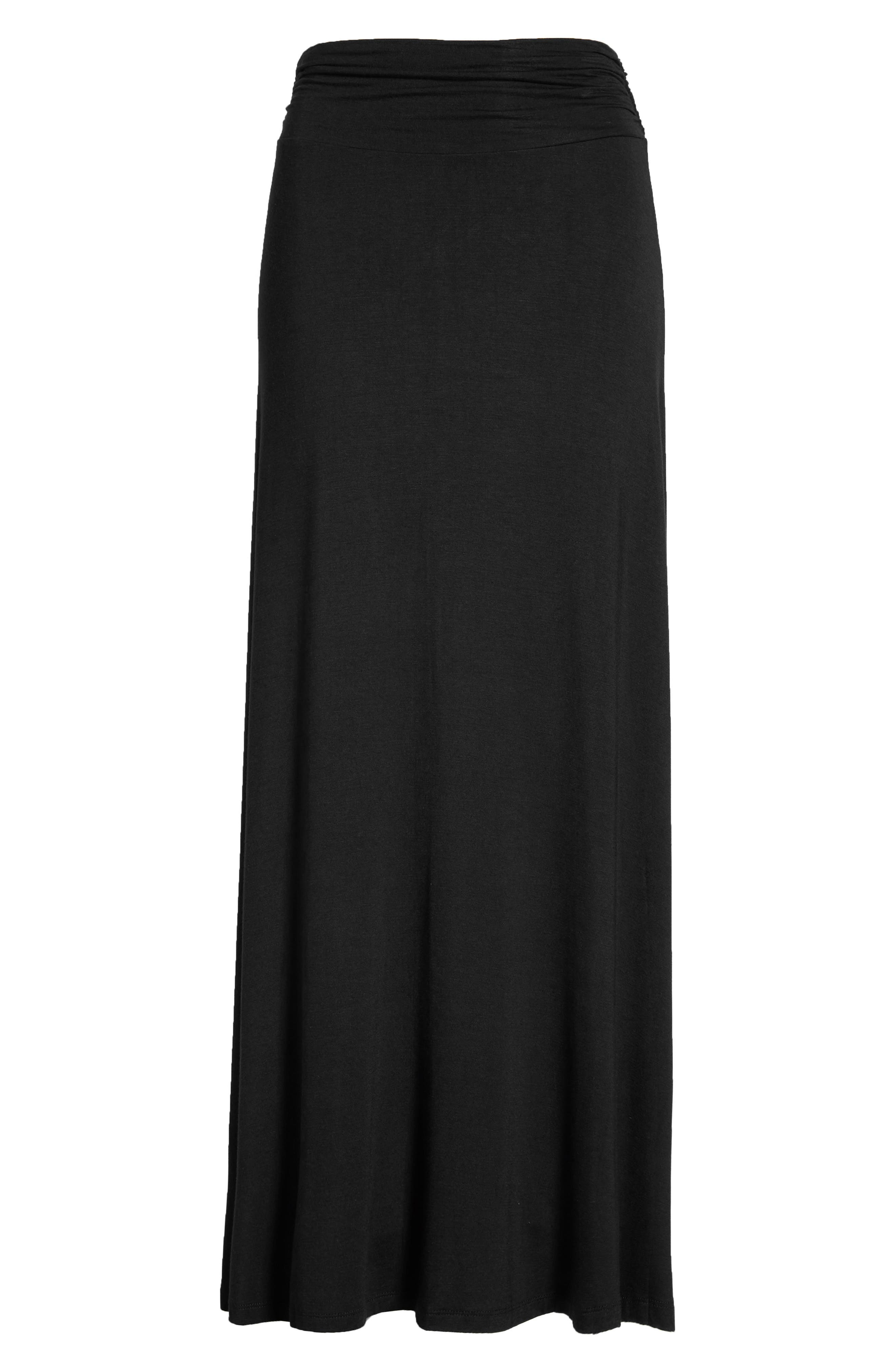 Ruched Waist Side Slit Maxi Skirt,                             Main thumbnail 1, color,                             Black