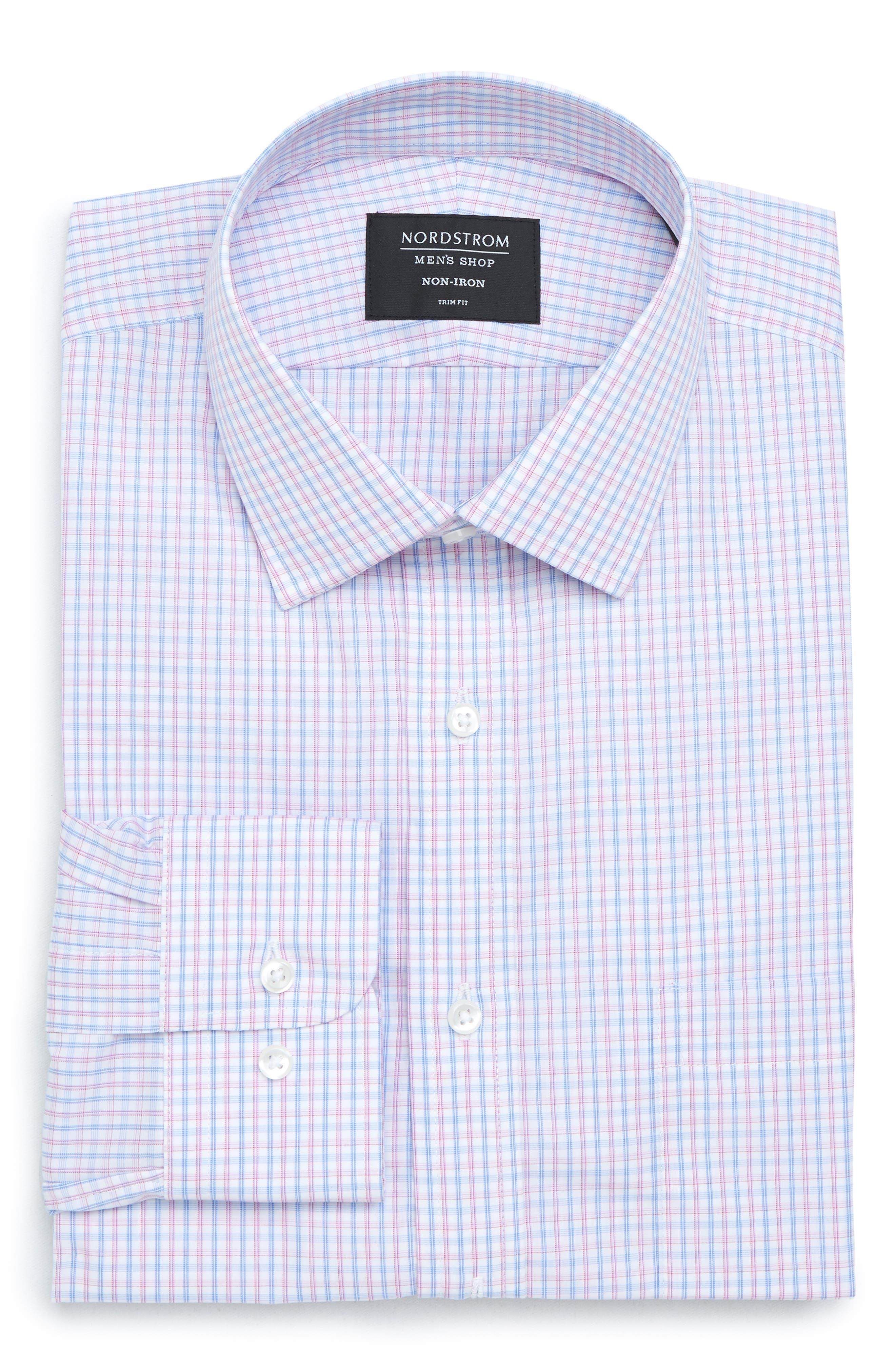 Nordstrom Trim Fit Non-Iron Check Dress Shirt,                             Alternate thumbnail 6, color,                             Pink Carmine
