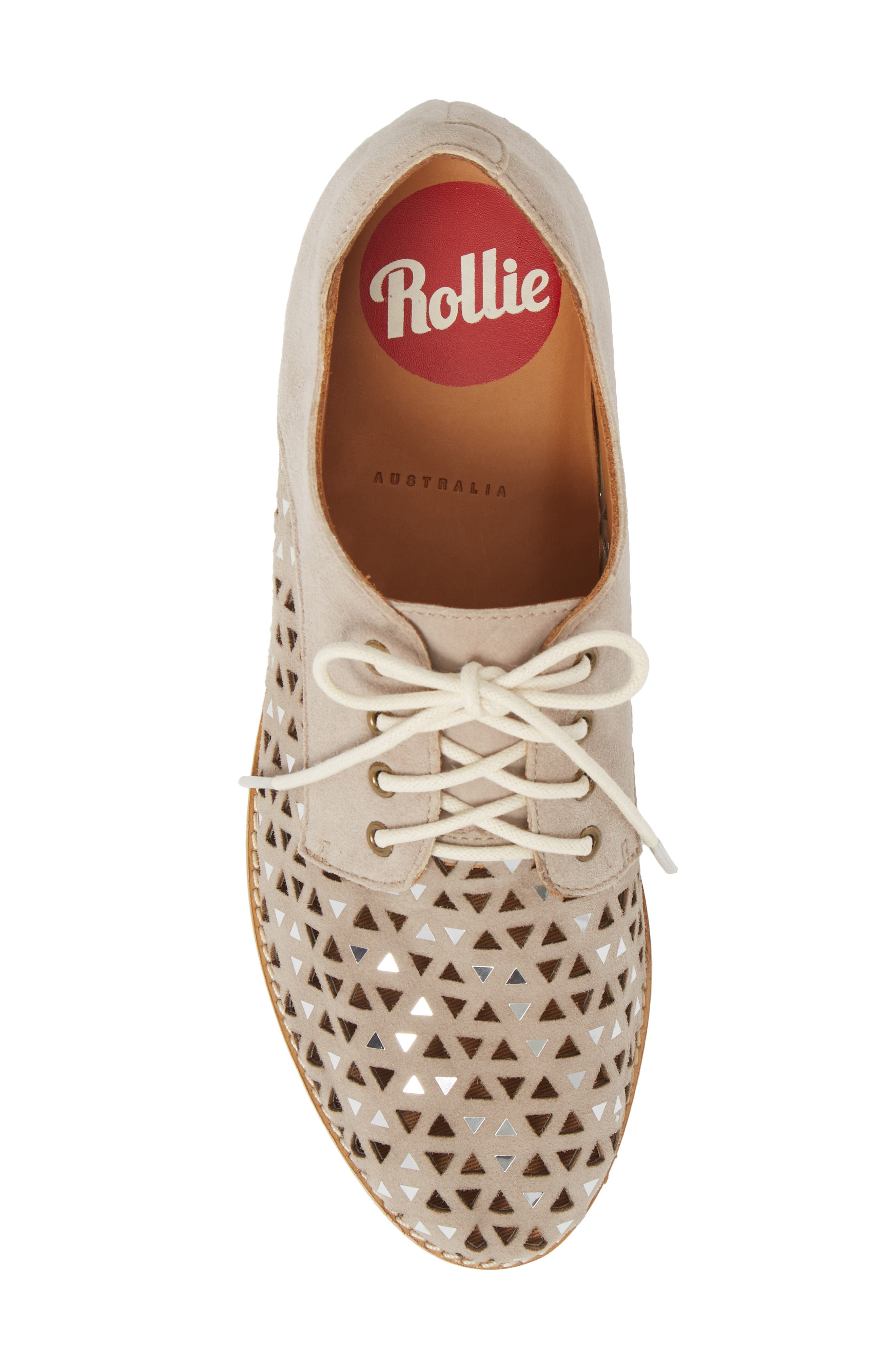 Triangle Perforated Derby,                             Alternate thumbnail 6, color,                             Light Taupe Suede