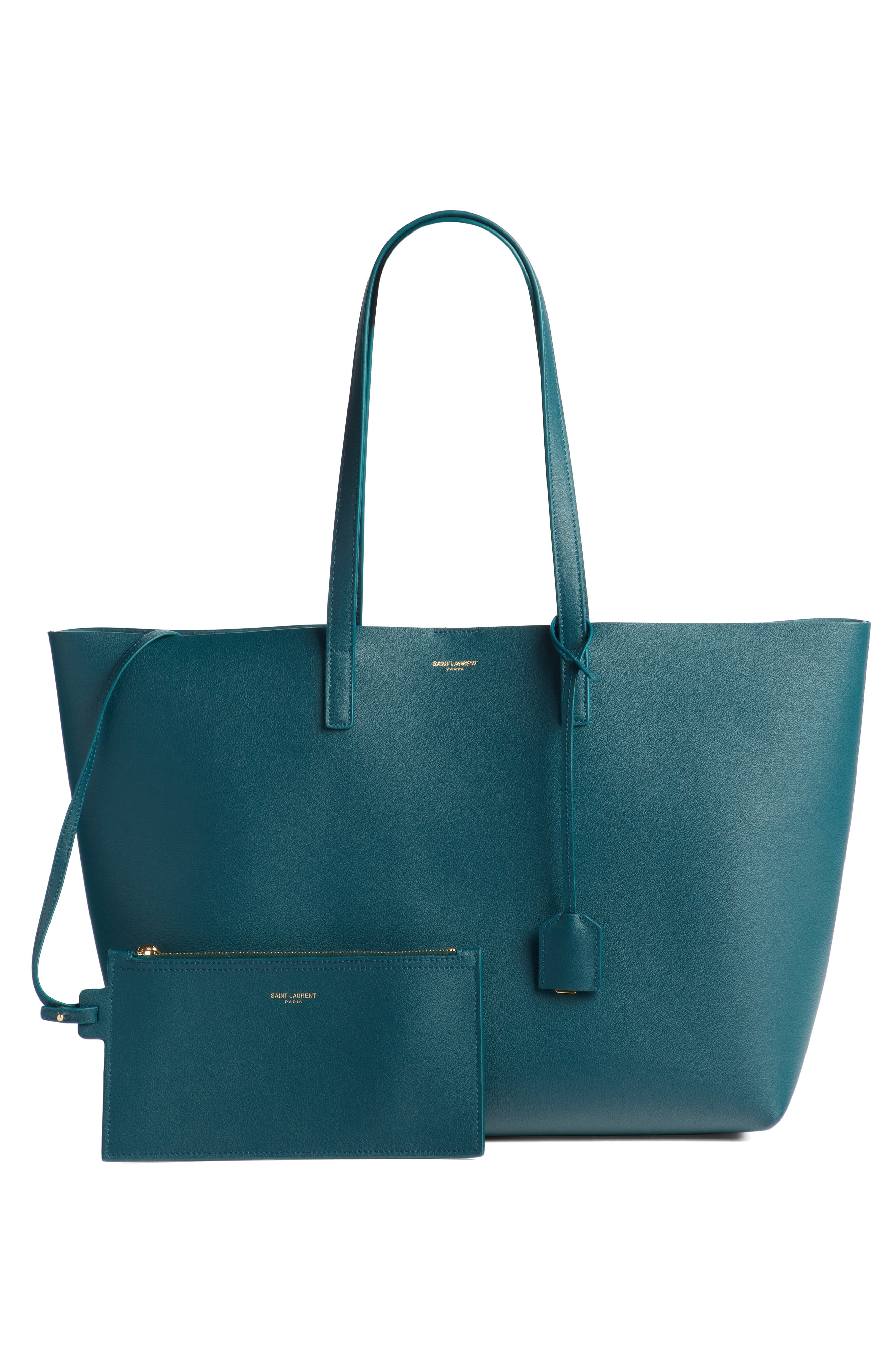 'Shopping' Leather Tote,                             Alternate thumbnail 3, color,                             Dark Turquoise