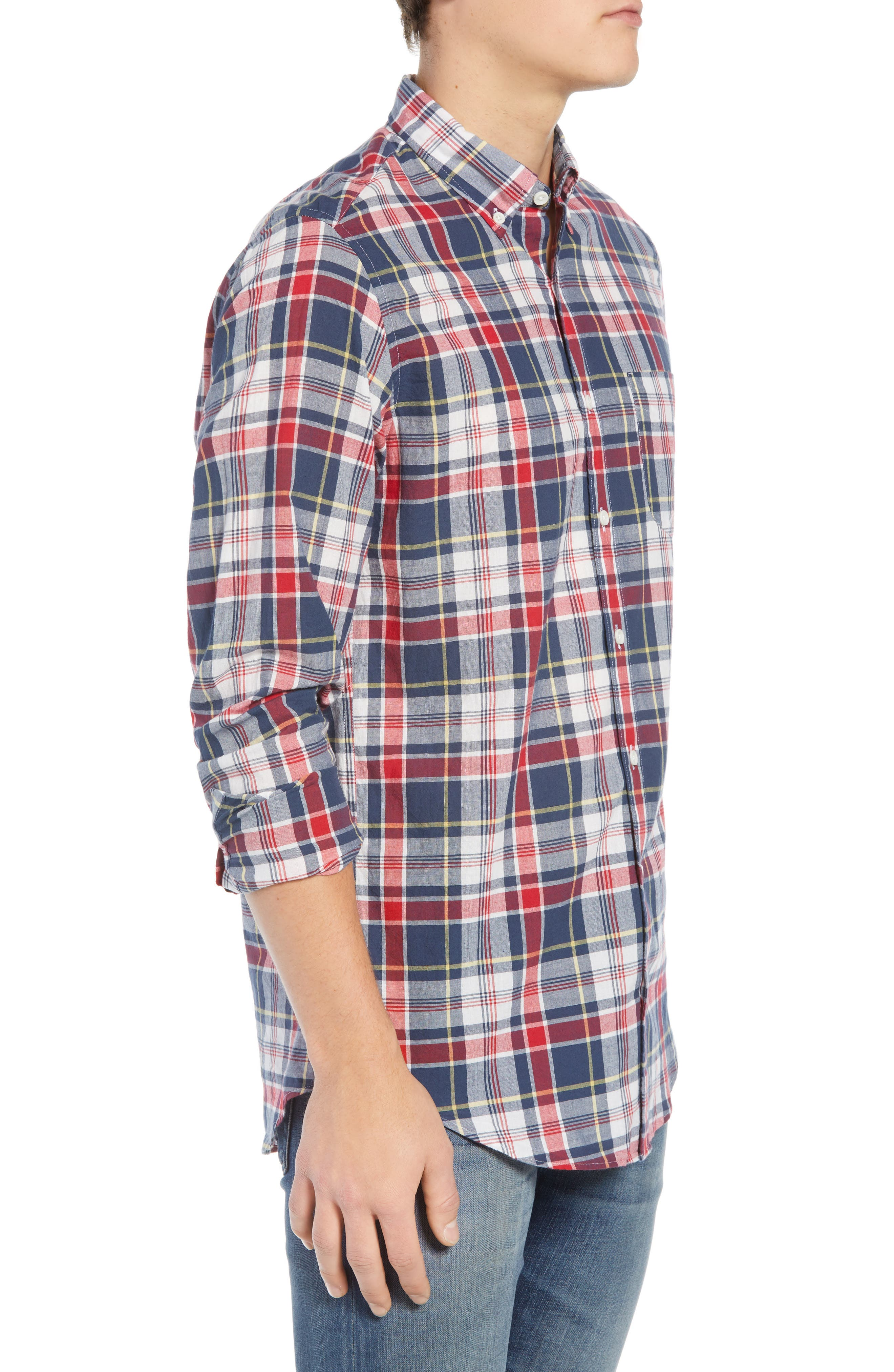 Regular Fit Madras Plaid Sport Shirt,                             Alternate thumbnail 4, color,                             Navy Ink