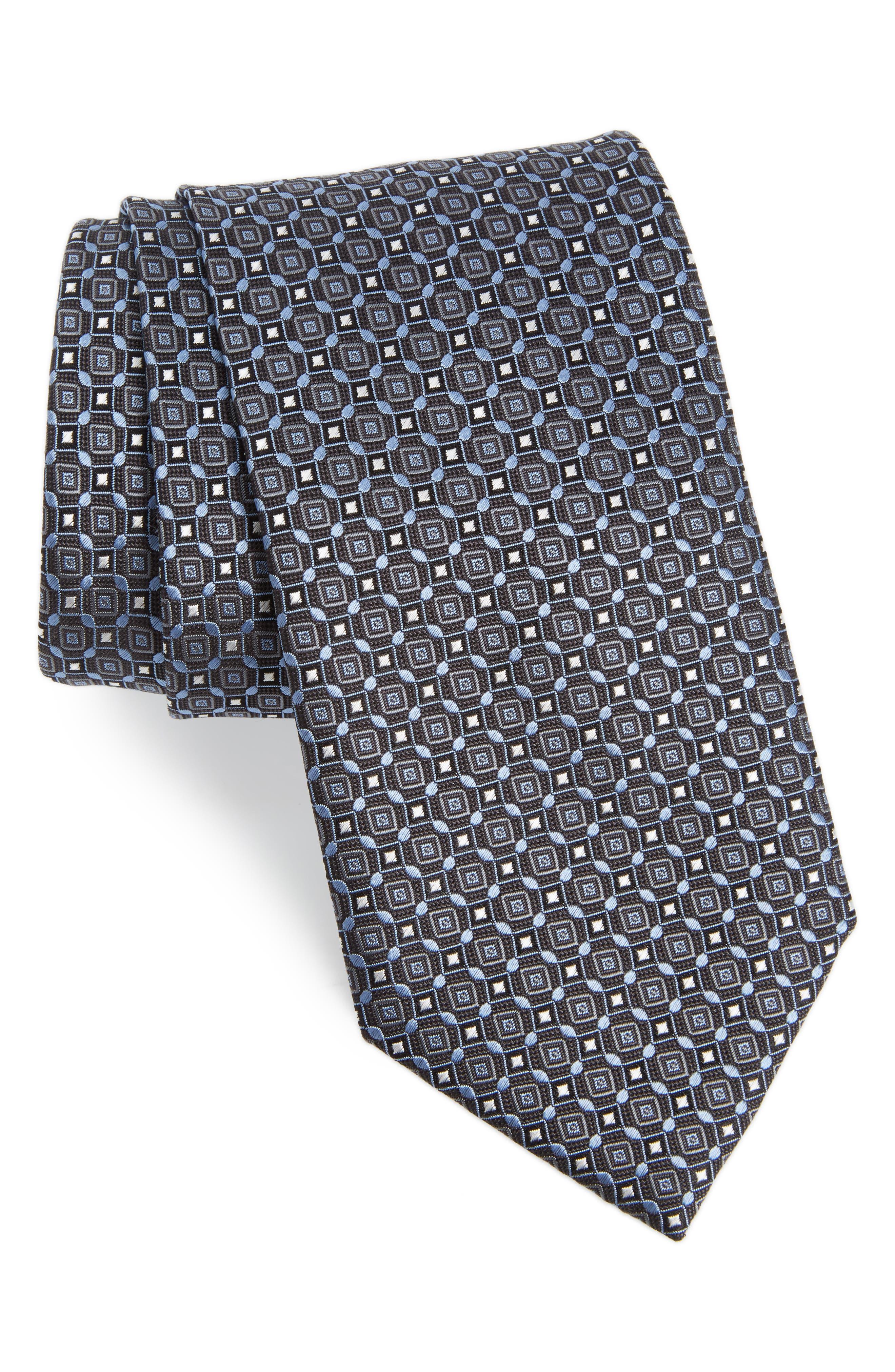 Geometric Silk Tie,                             Main thumbnail 1, color,                             Grey