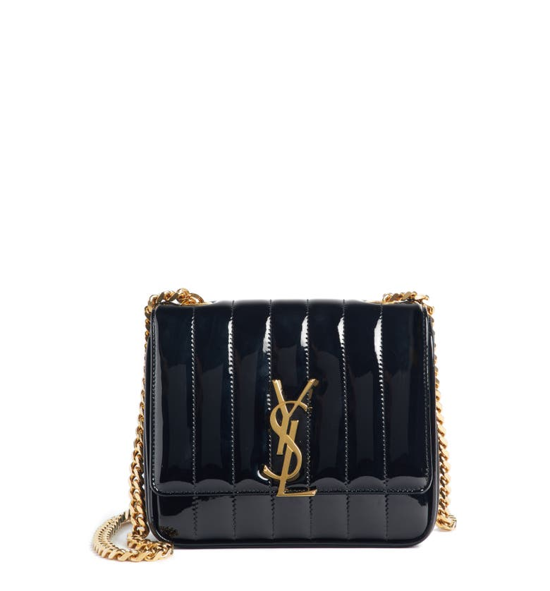 Saint Laurent Vicky Monogram Ysl Small Quilted Patent Leather Crossbody Bag  In Black cccfc80c16