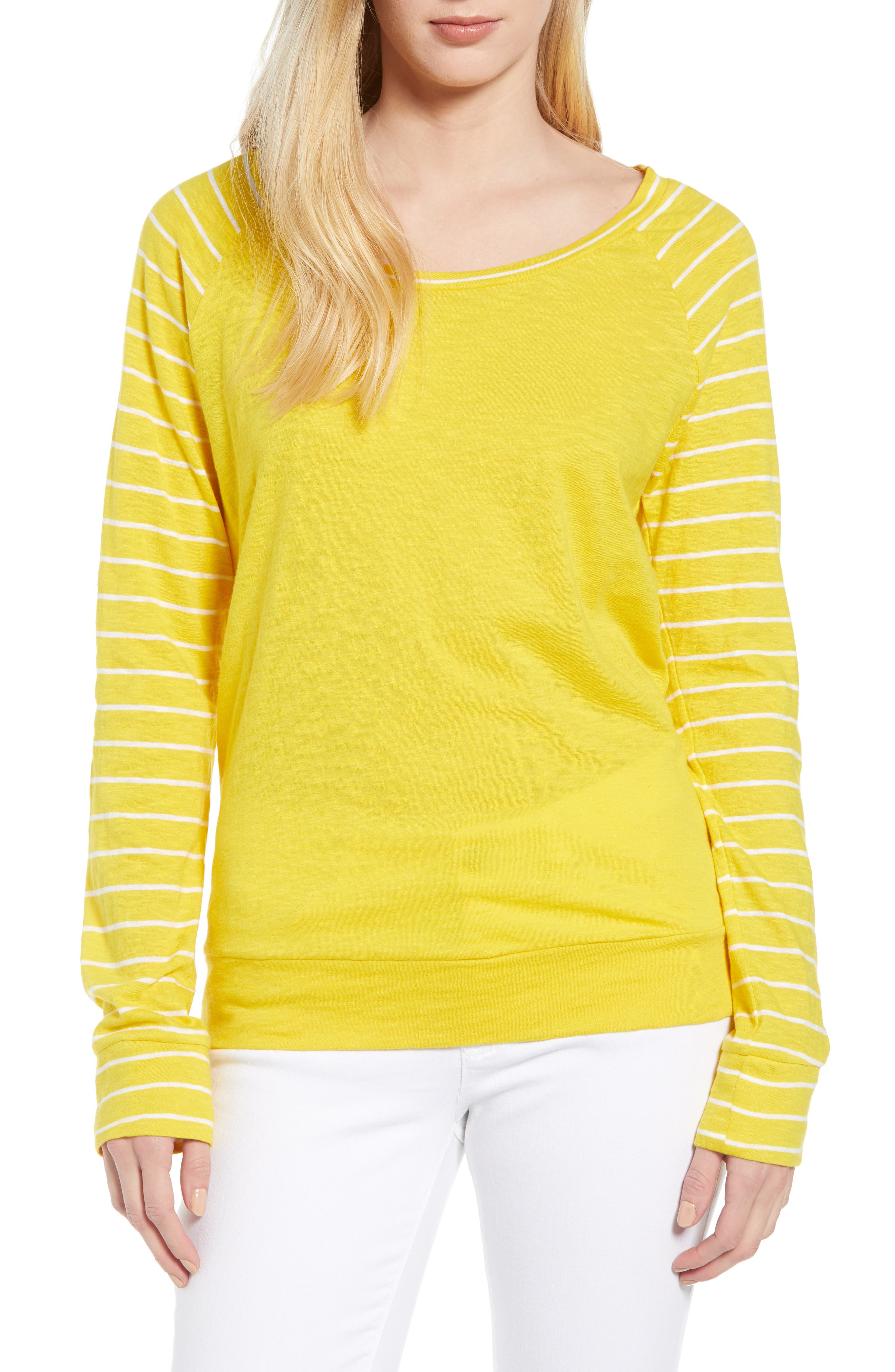 Lightweight Colorblock Cotton Tee,                             Main thumbnail 5, color,                             Yellow- White Lukah Combo