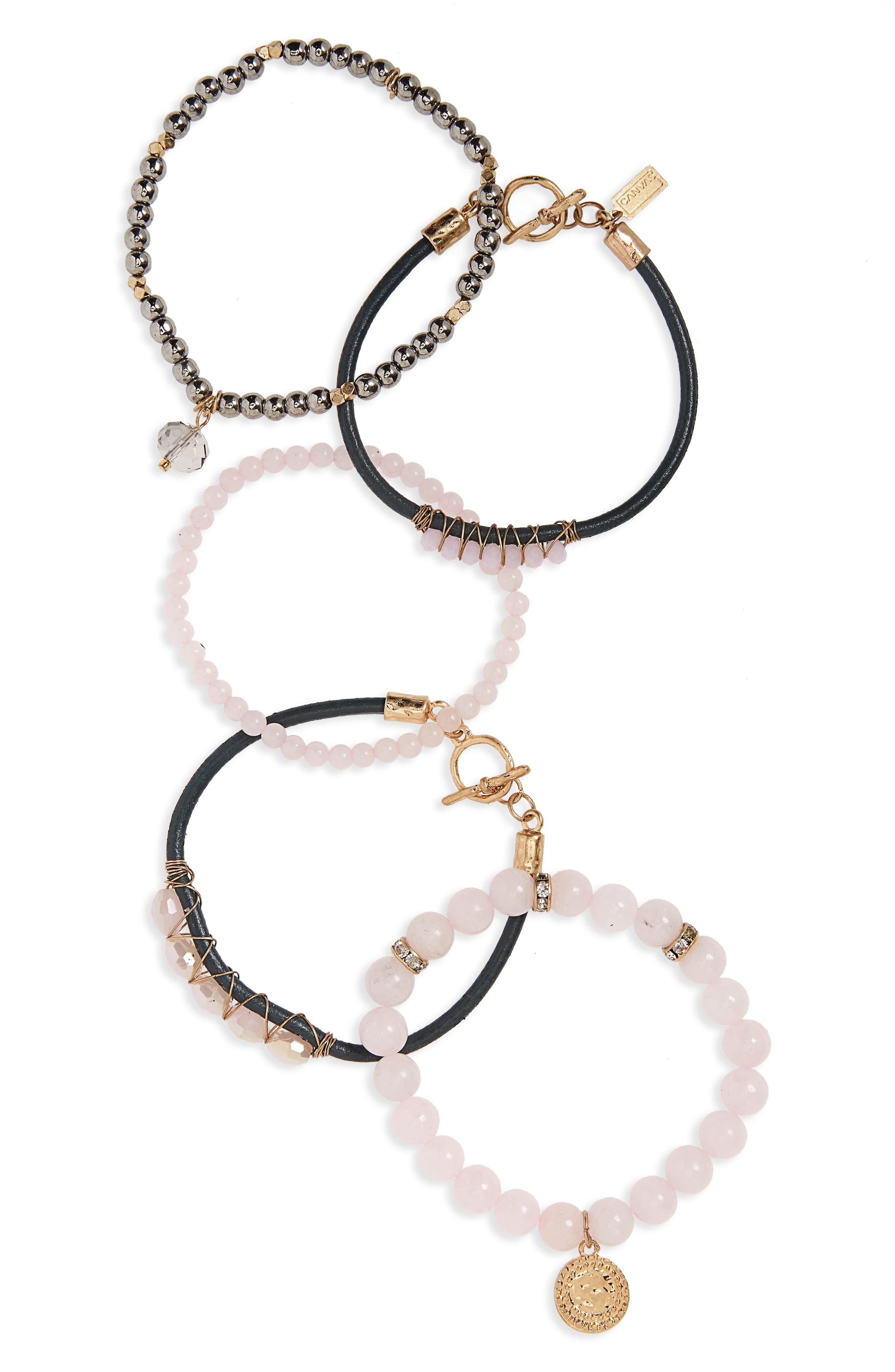 5-Piece Semiprecious Stone Stacking Bracelet,                             Main thumbnail 1, color,                             Pink